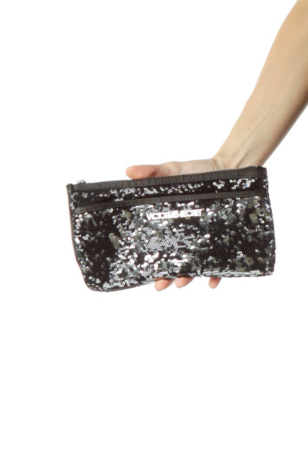 Black Silver Sequined Clutch Front