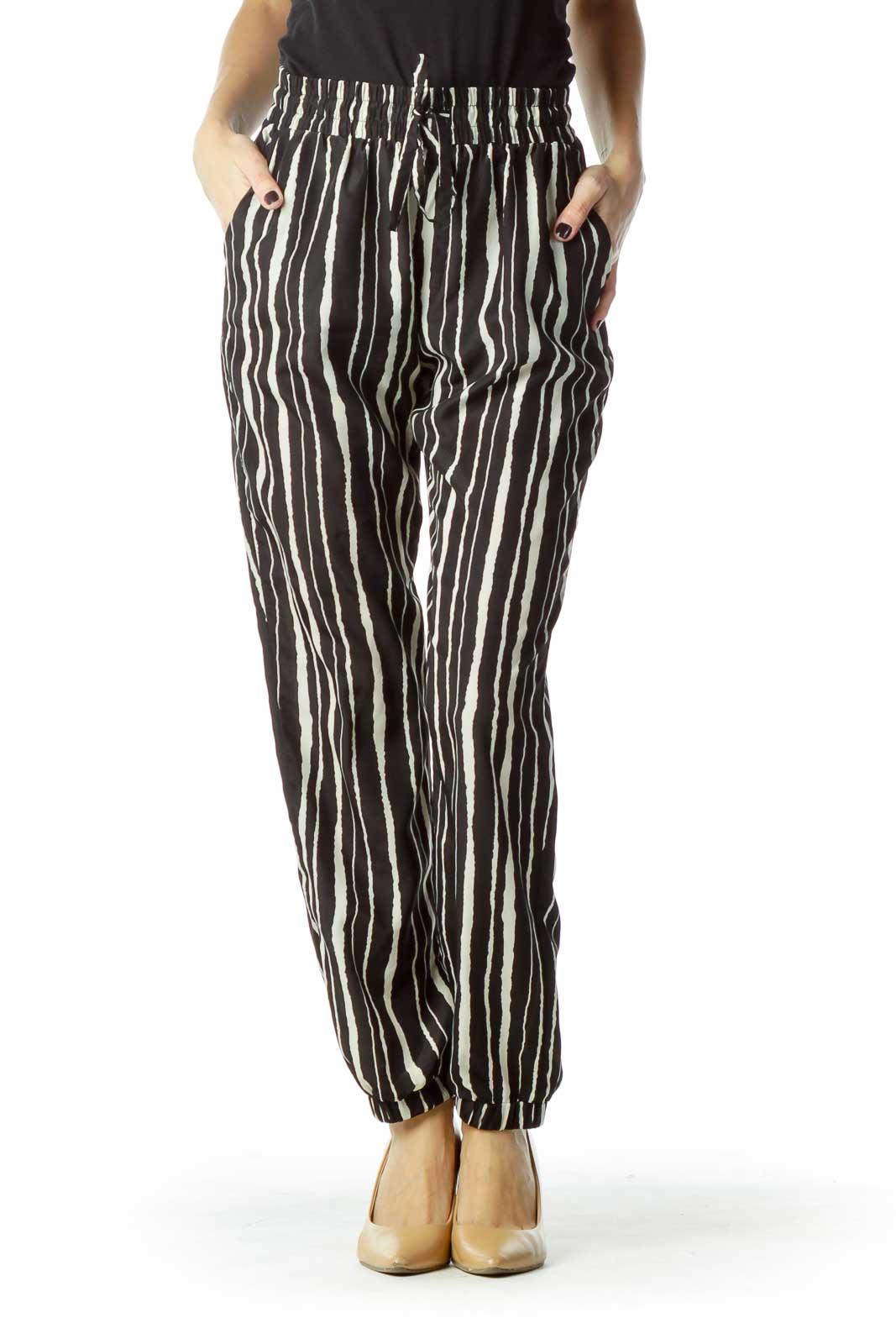 Black Cream Striped Soft Pant Front