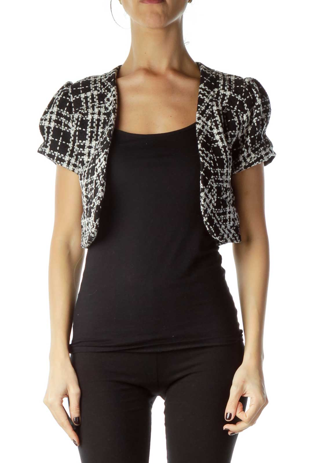 Black White Tweed Cropped Jacket Front