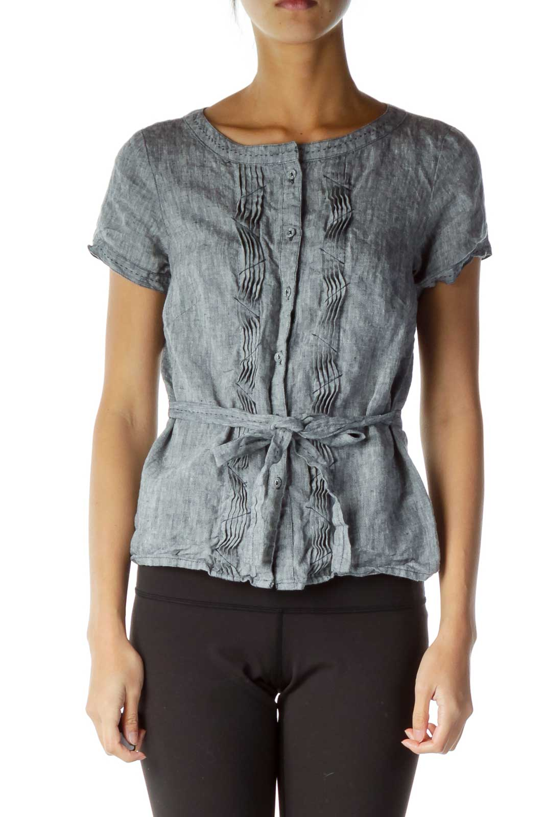 Gray Belted Button Down Top Front