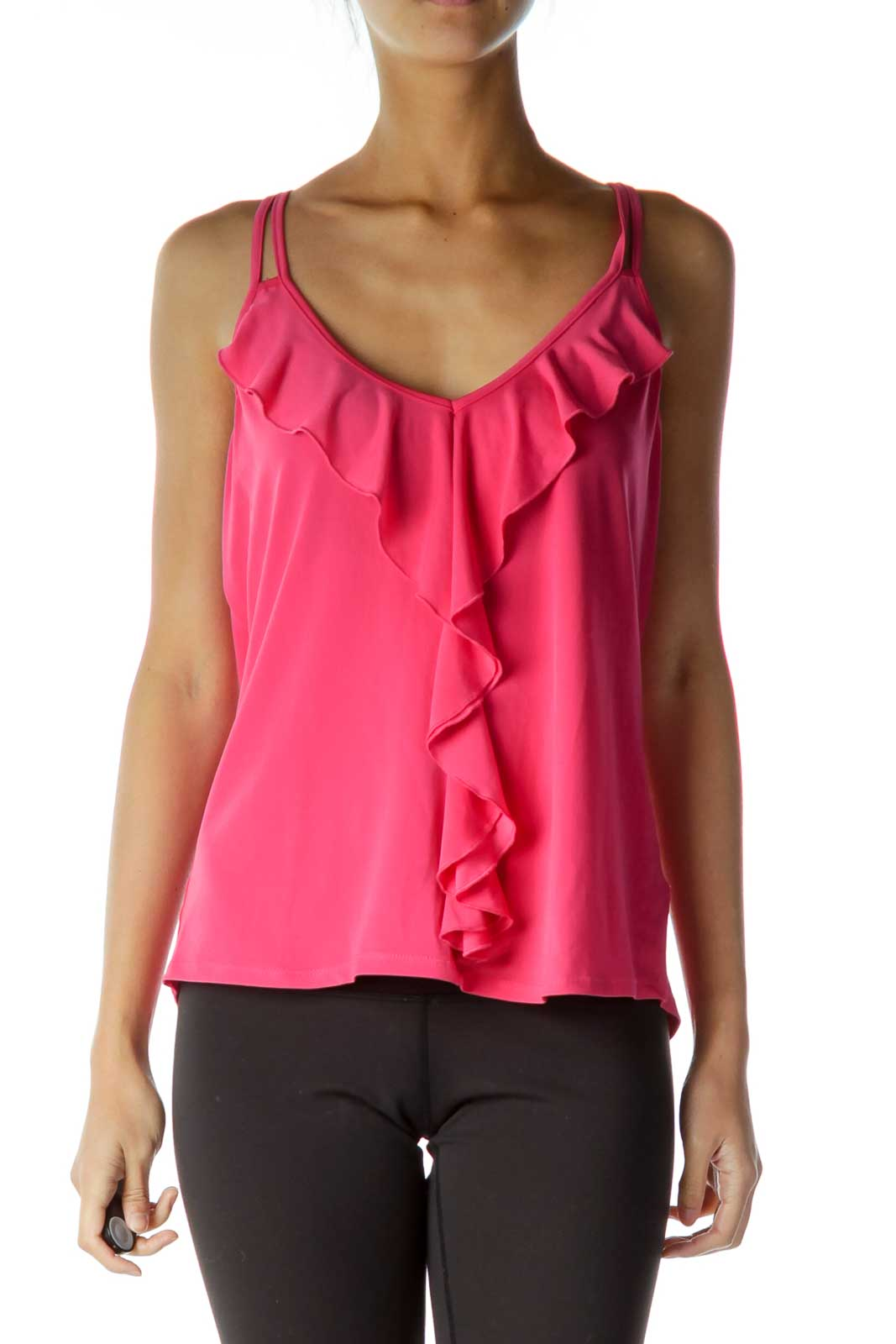Pink Spaghetti-strap Ruffled Top  Front