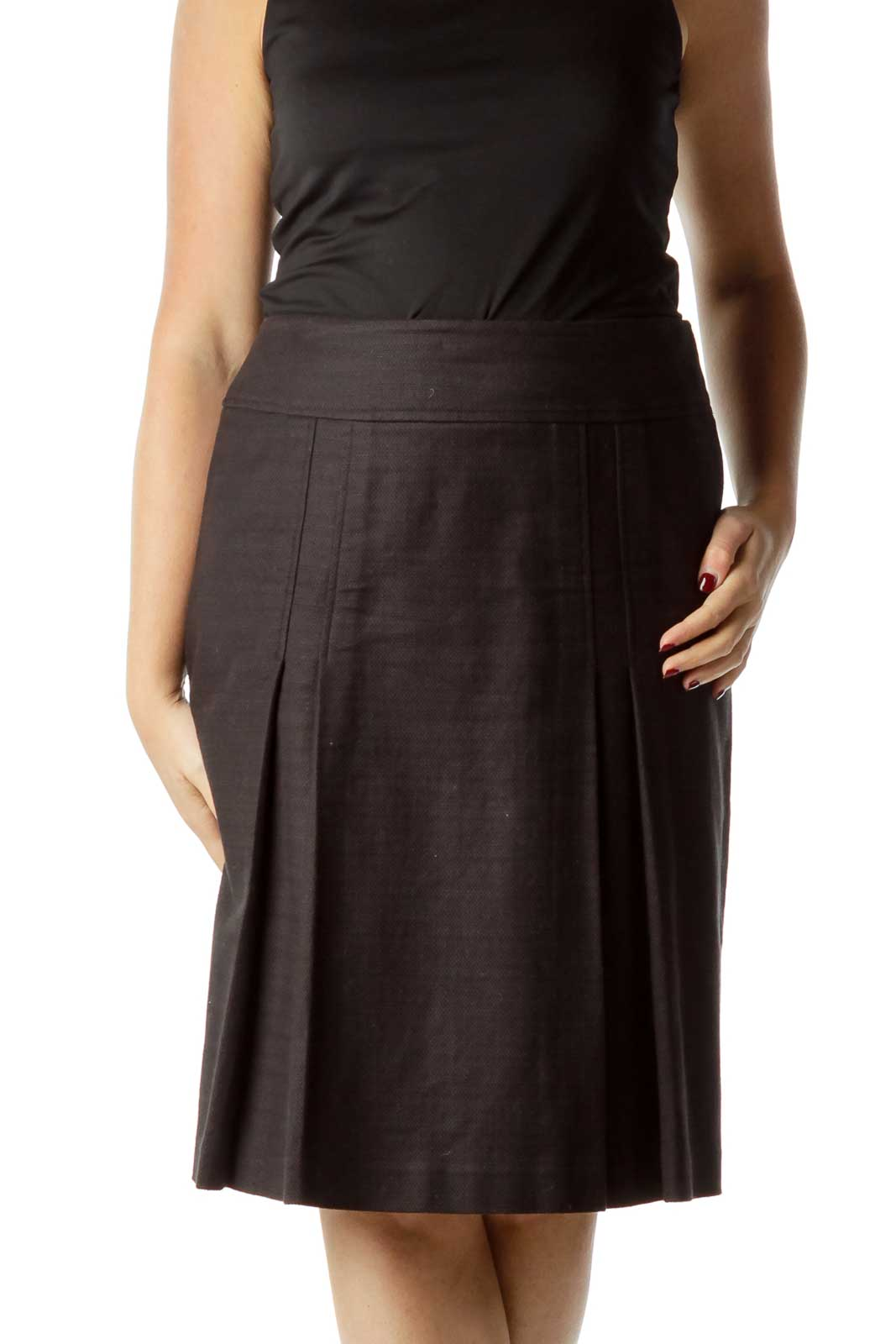 Black Pleat Detailed A-line Skirt Front