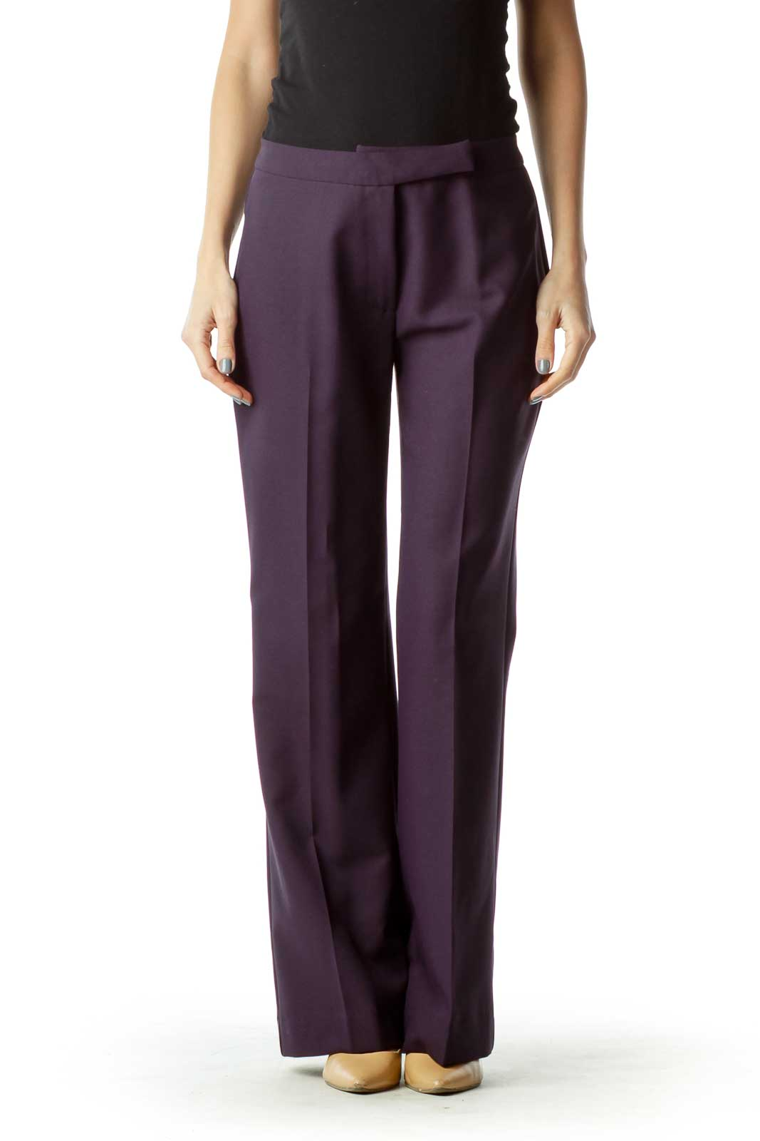 Purple Zipper-Fly Slacks Front