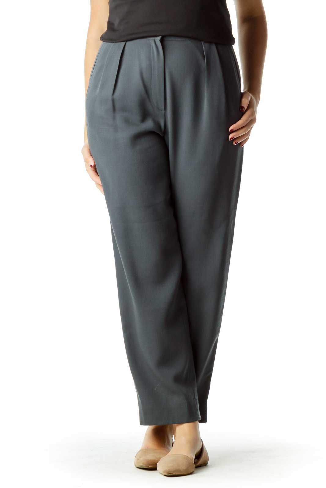 Gray High-Waisted Wool Pants Front