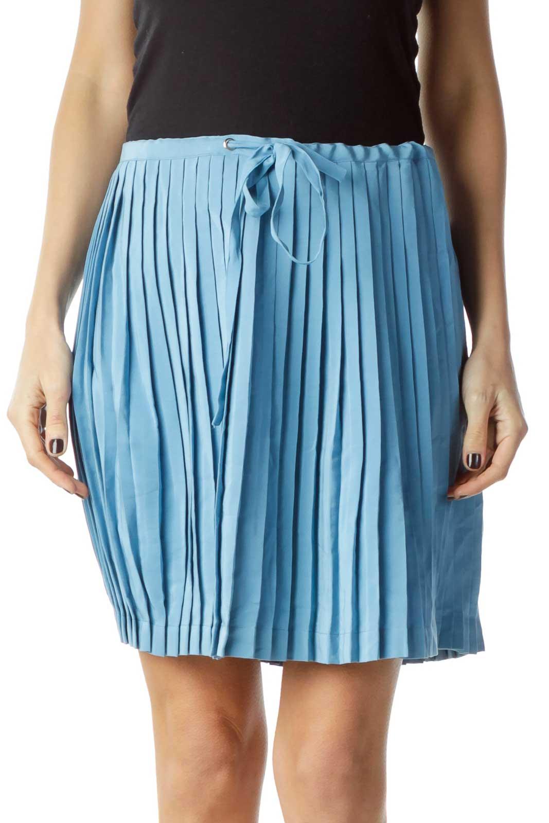 Blue Pleated Mini Skirt Front