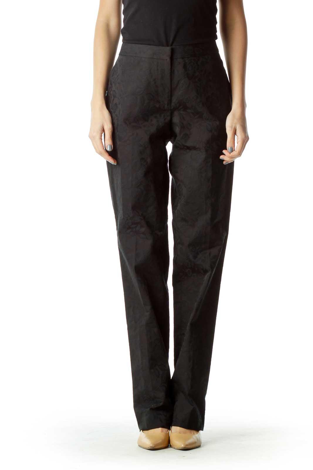 Black Floral Embossed Pants Front