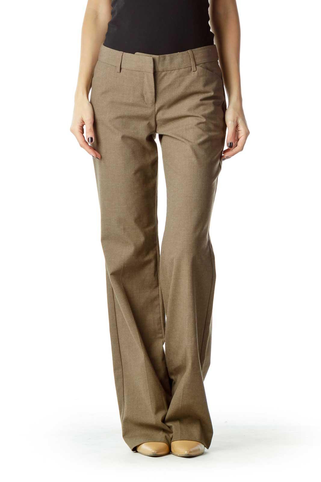 Brown Straight Leg Slacks Front
