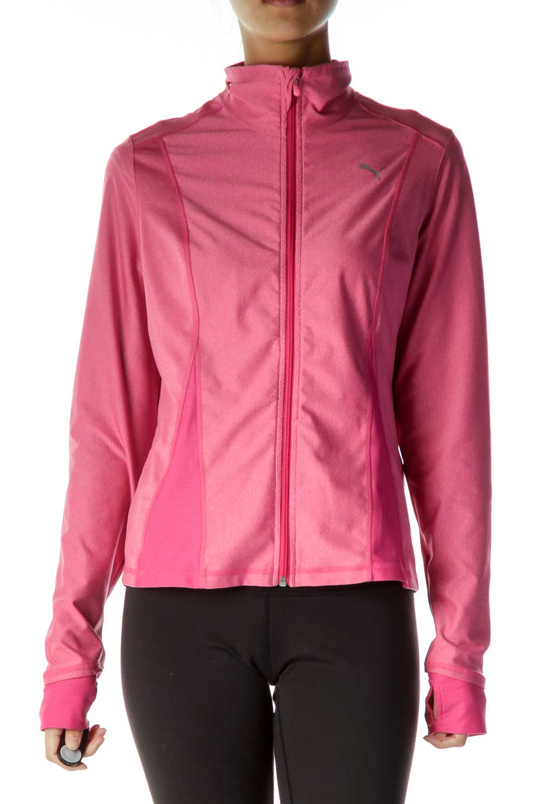 Pink Zipper Athletic Jacket Front