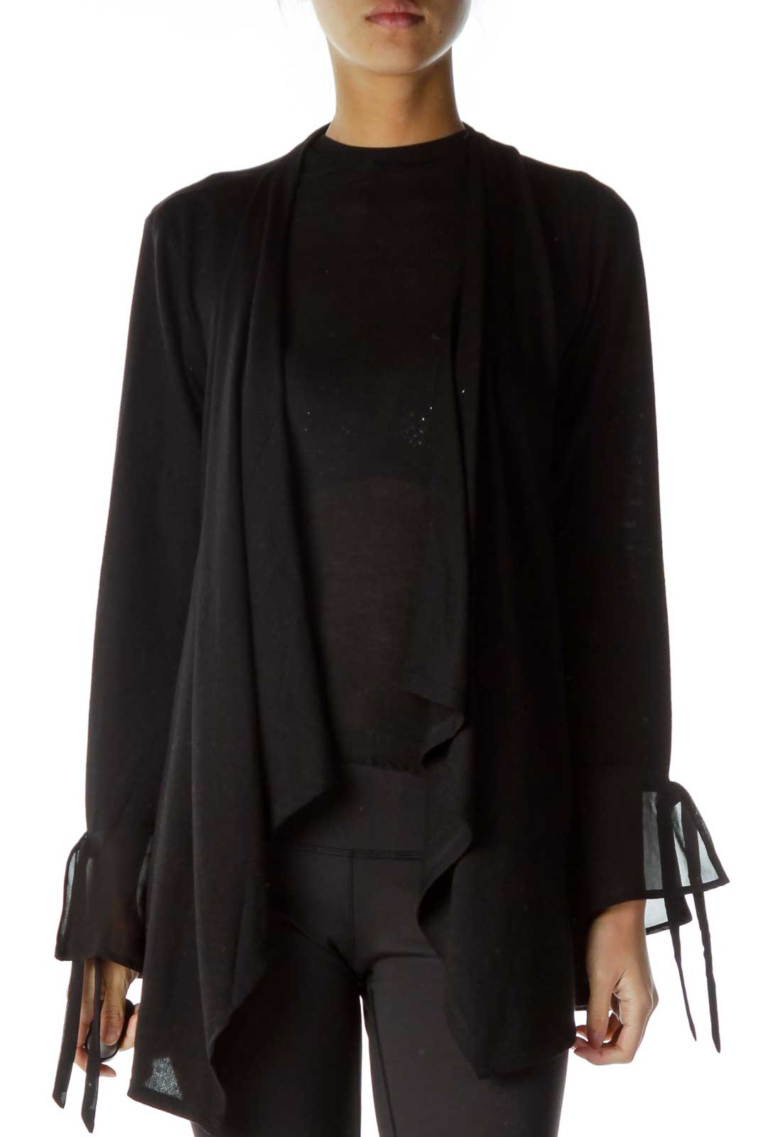 Black Lace-up Back Cardigan with Gems details Front