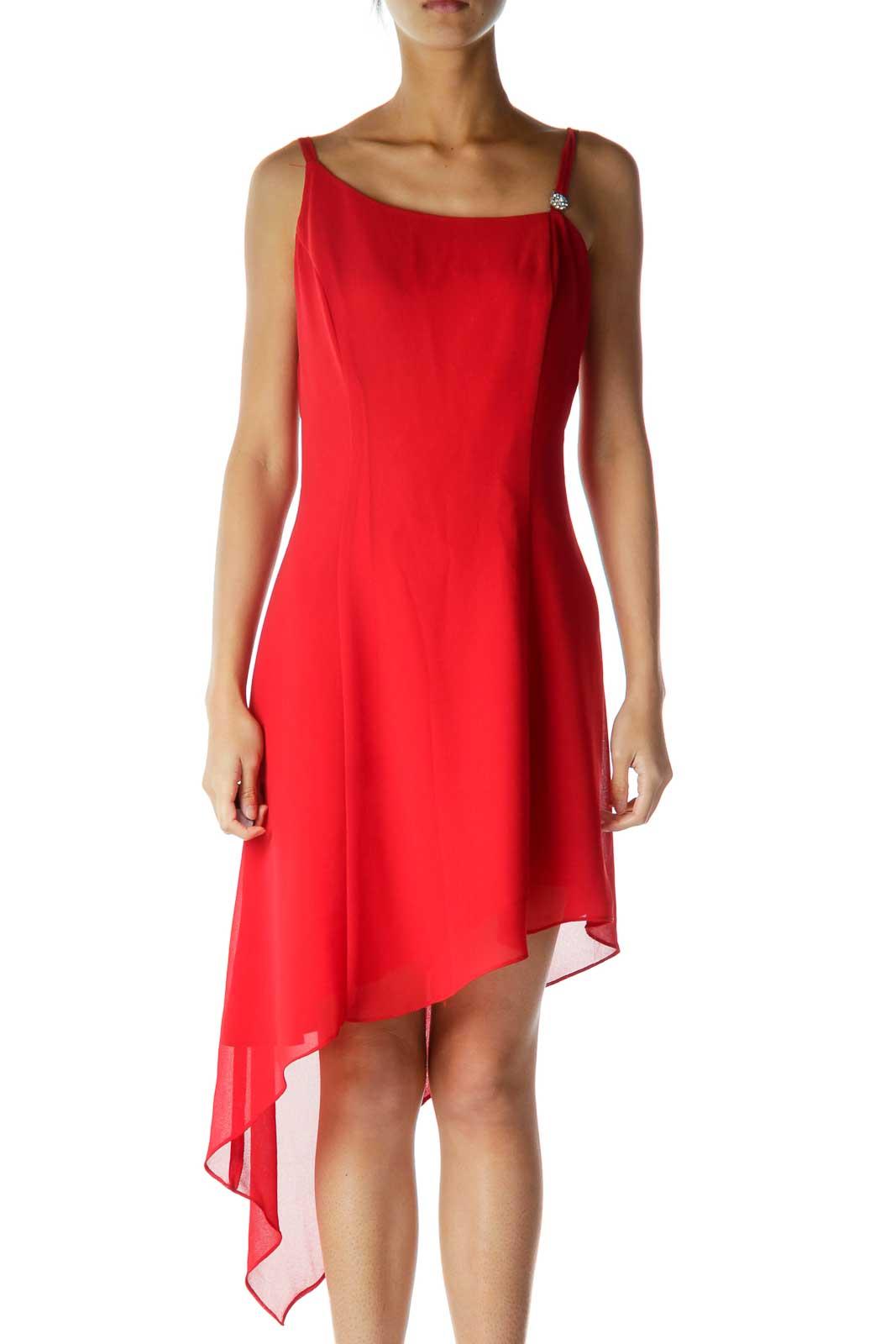 Red Spaghetti Strap Asymmetric Cocktail Dress Front