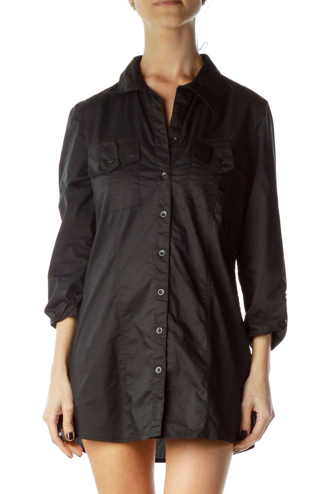 Black Fitted Pocketed Shirt Dress Front