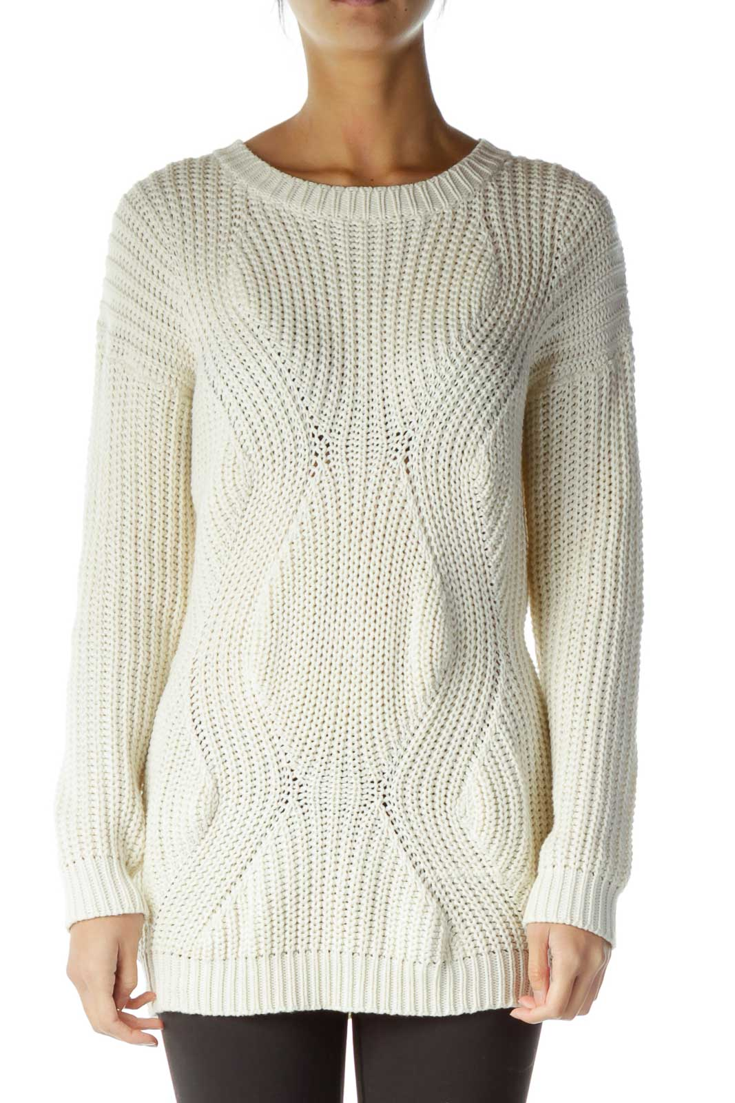 Cream Long Cable Knit Sweater Front