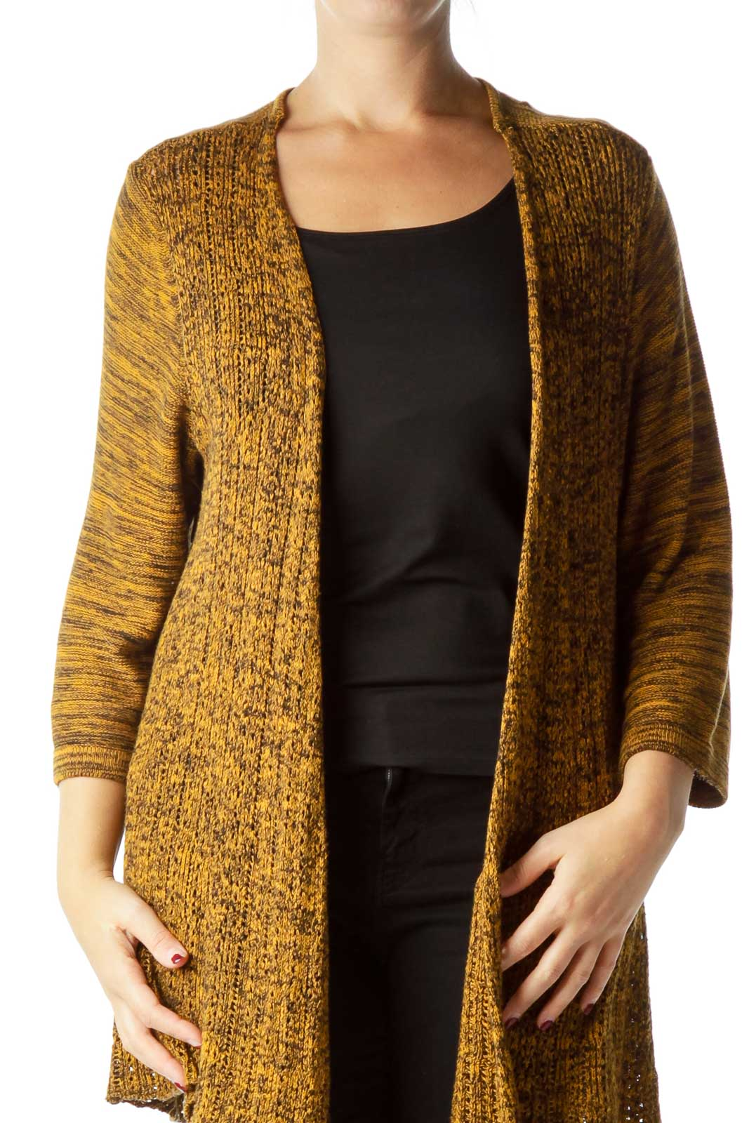 Yellow Marl Cardigan Front