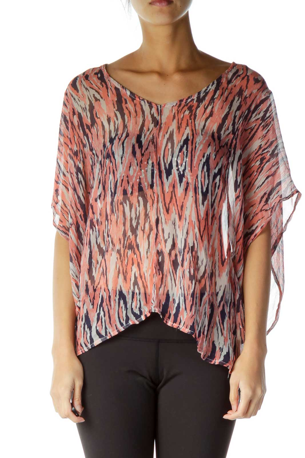 Pink Purple See-Through Loose Blouse Front