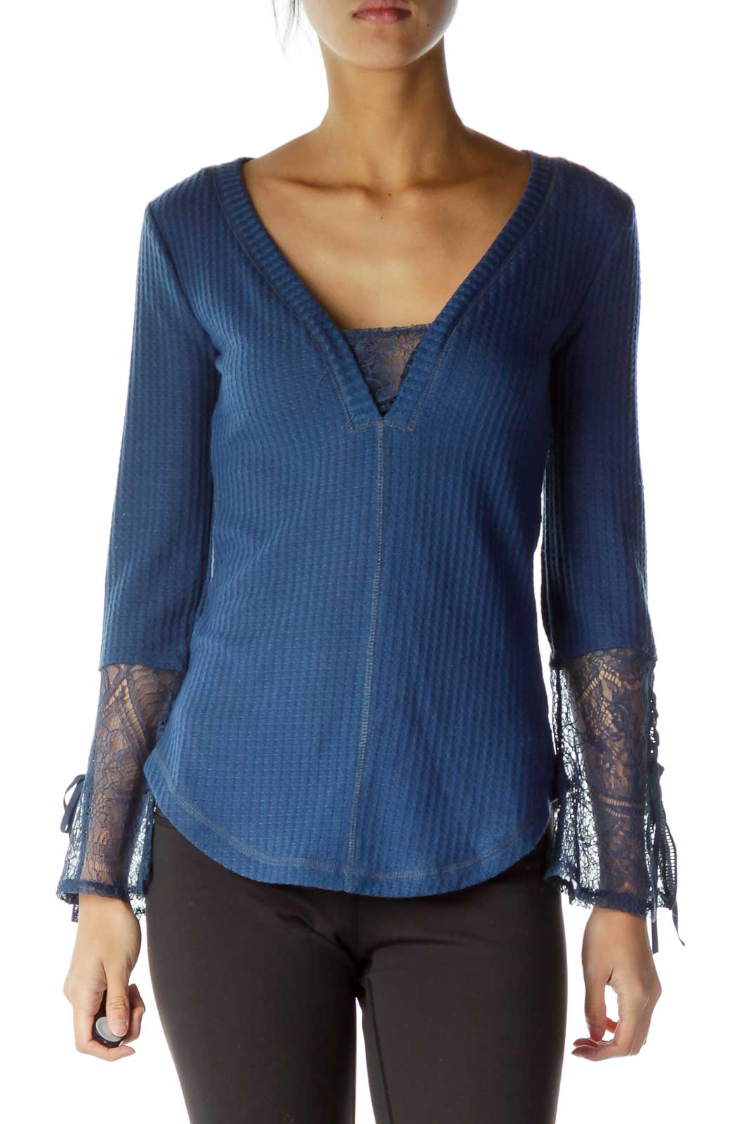 Blue Lace Sleeve Detail V-Neck Top Front