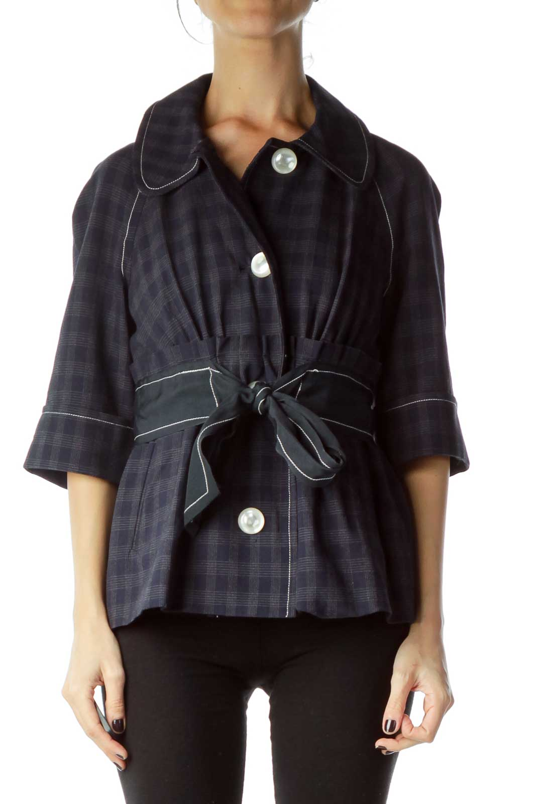 Navy Checkered Crop Sleeve Belted Jacket Front