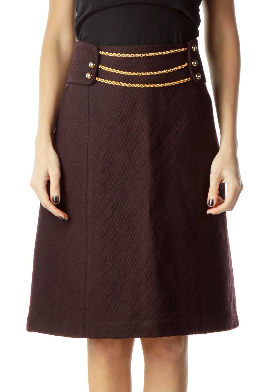 Burgundy Wool Pencil Skirt with Chain Detail  Front