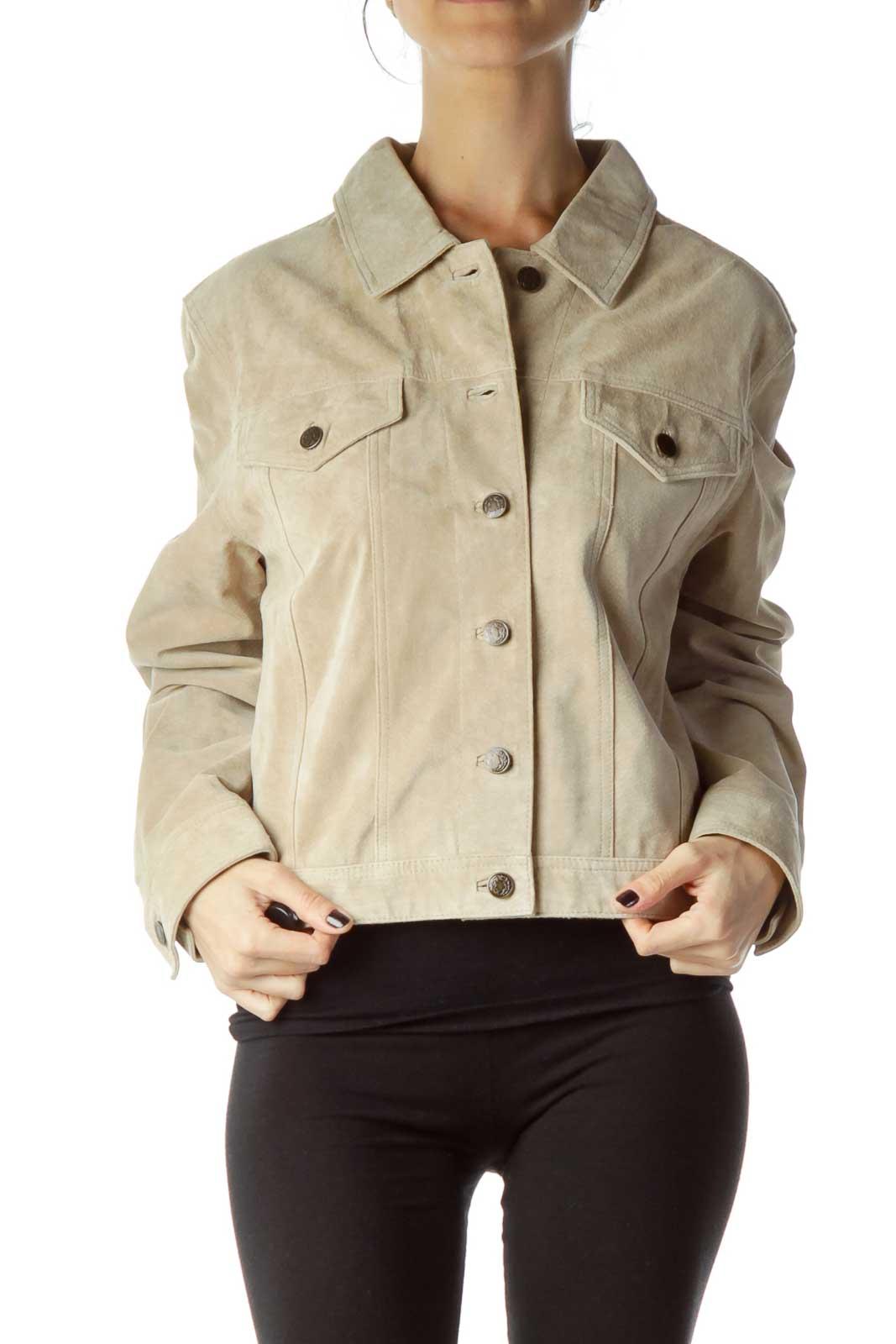 Beige Sued Button Down Jacket Front