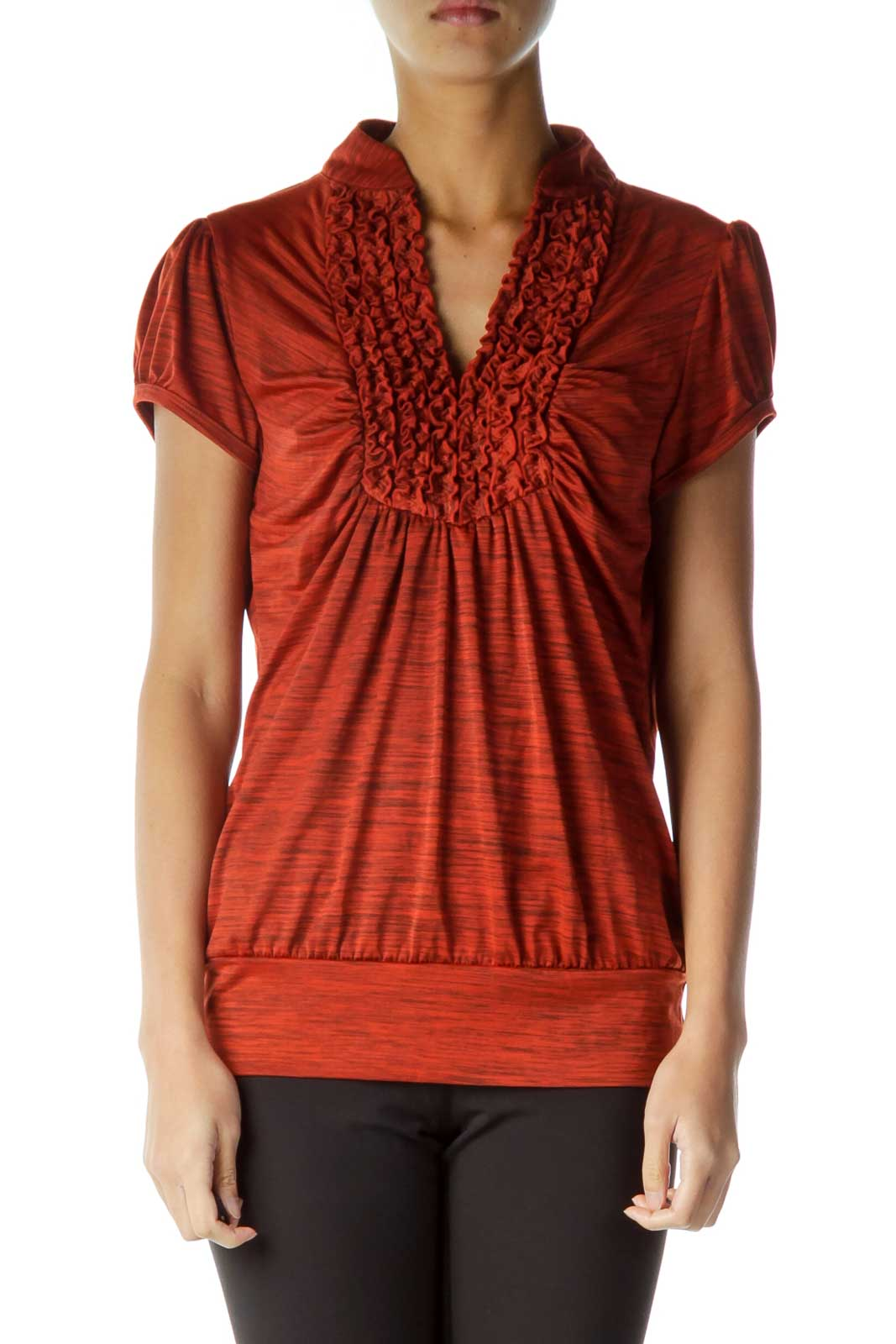 Orange Ruffle Detailed Top Front