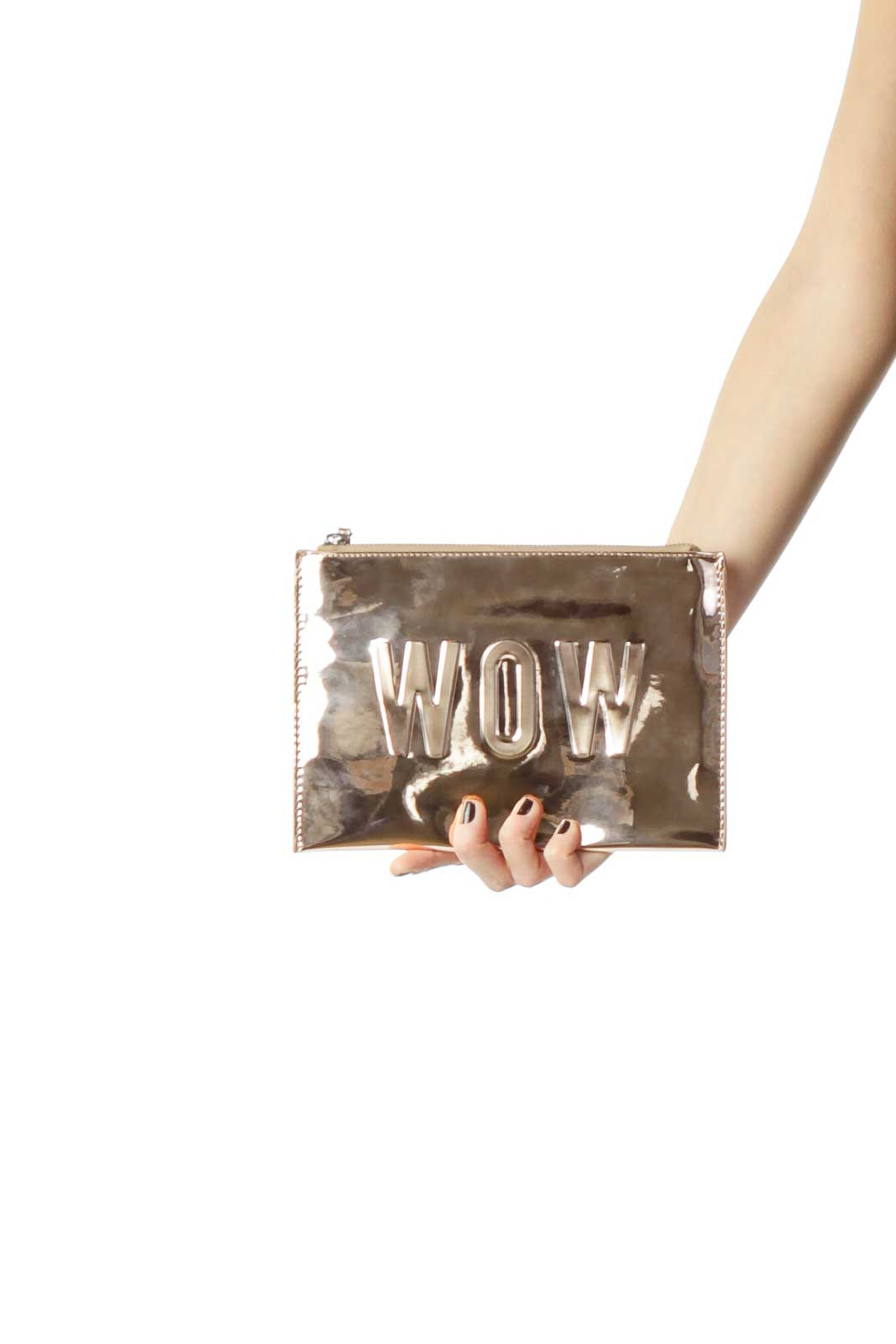 Rose Gold Clutch with Strap Front