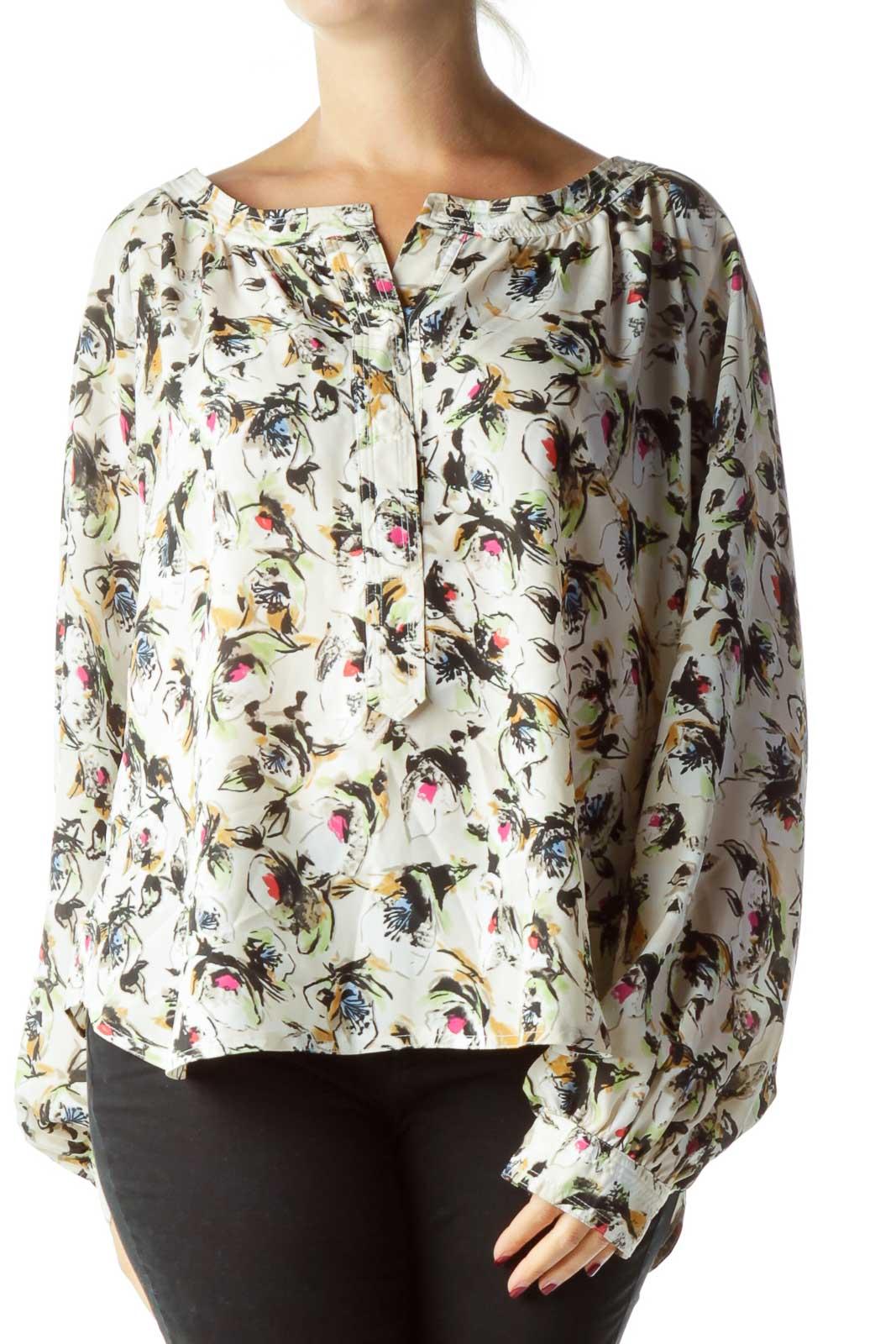Beige Flower Print Blouse Front