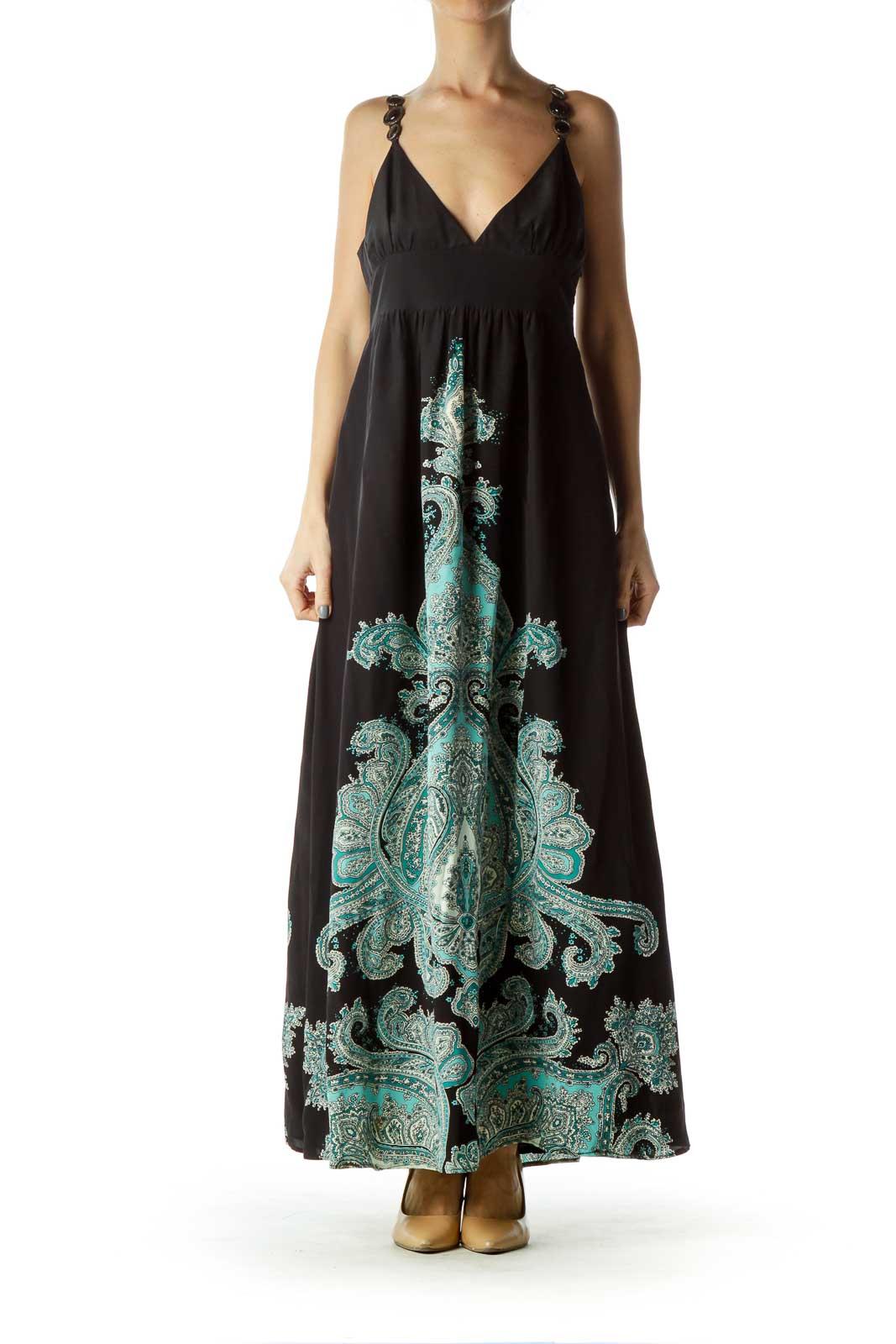 Black Blue Paisley Print Maxi Dress Front