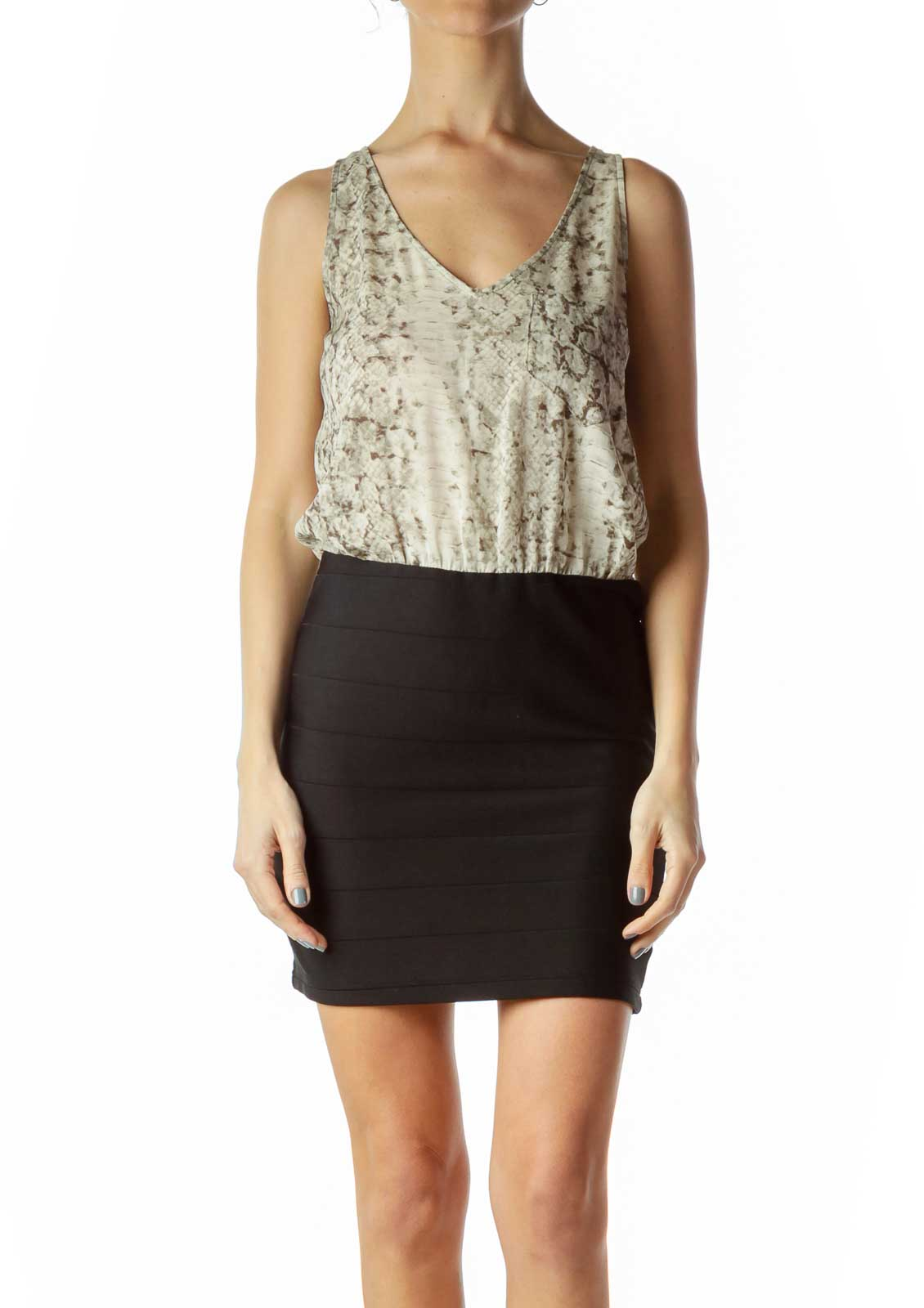 Black Cream Snake Print Top Dress Front