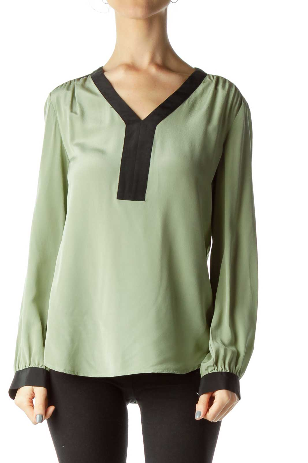 Green Color Block Silk Blouse Front