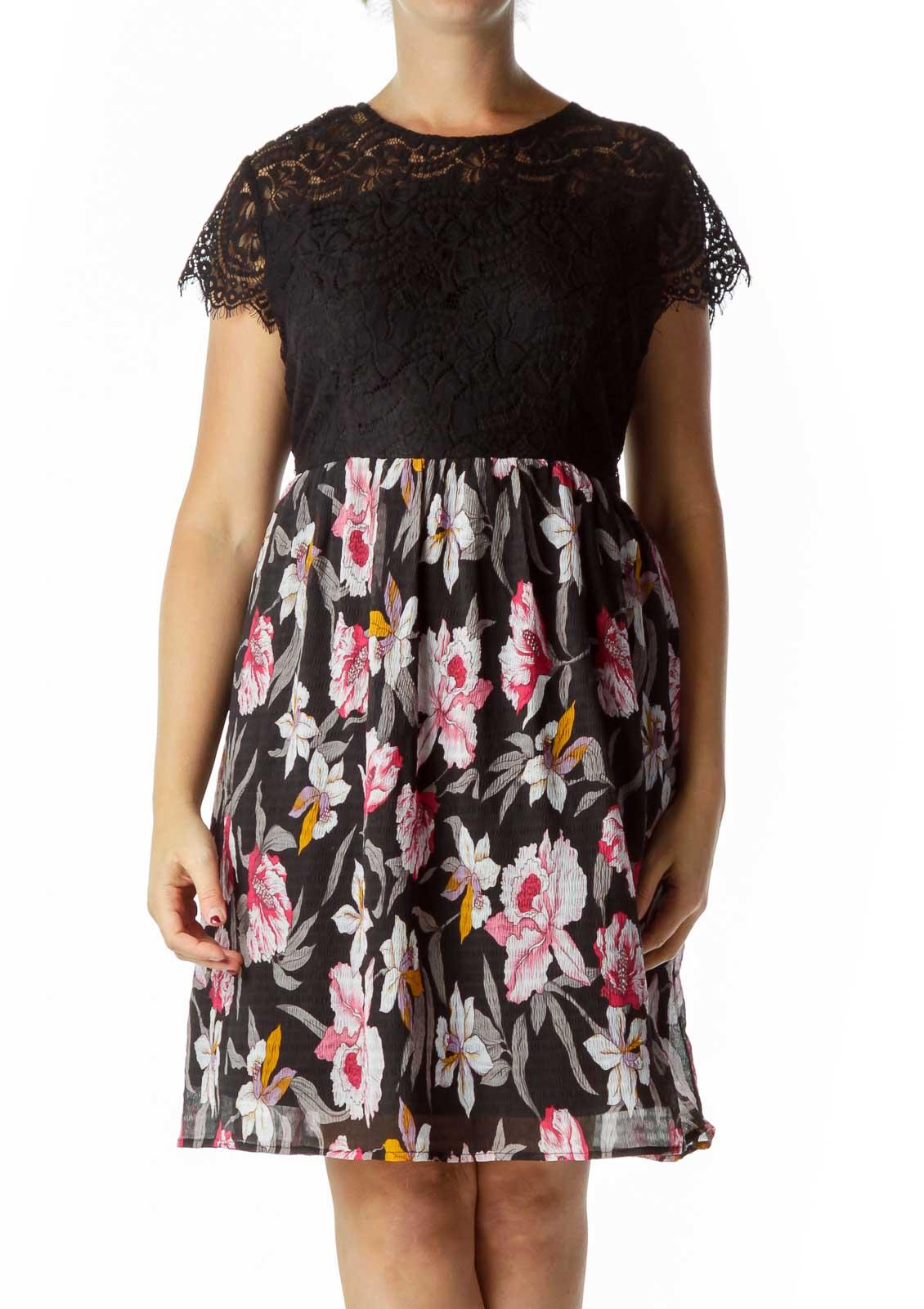 Black Lace Print Dress Front