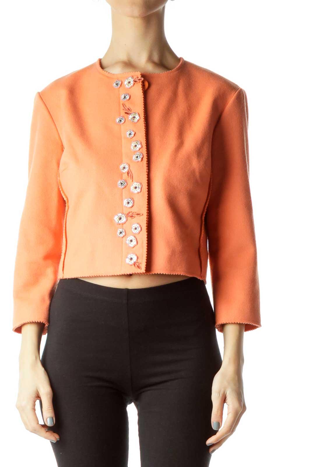 Orange Wool Cashmere Cropped Jacket Front