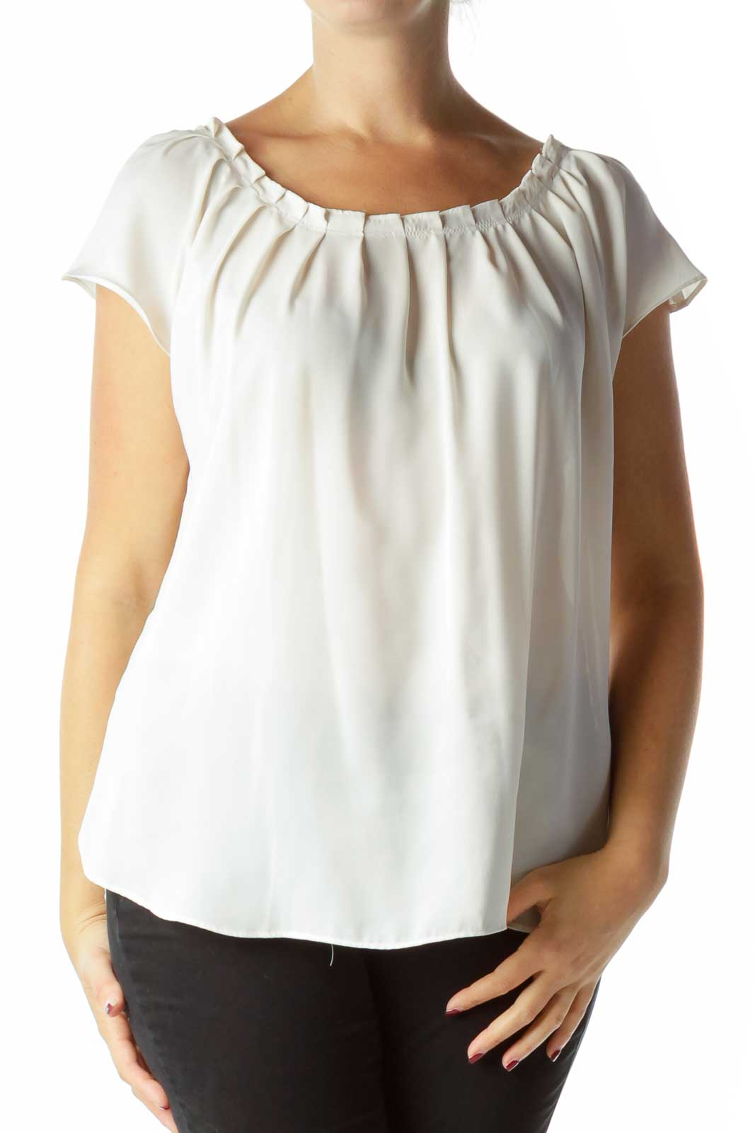 Cream Pleated Short Sleeve Blouse Front