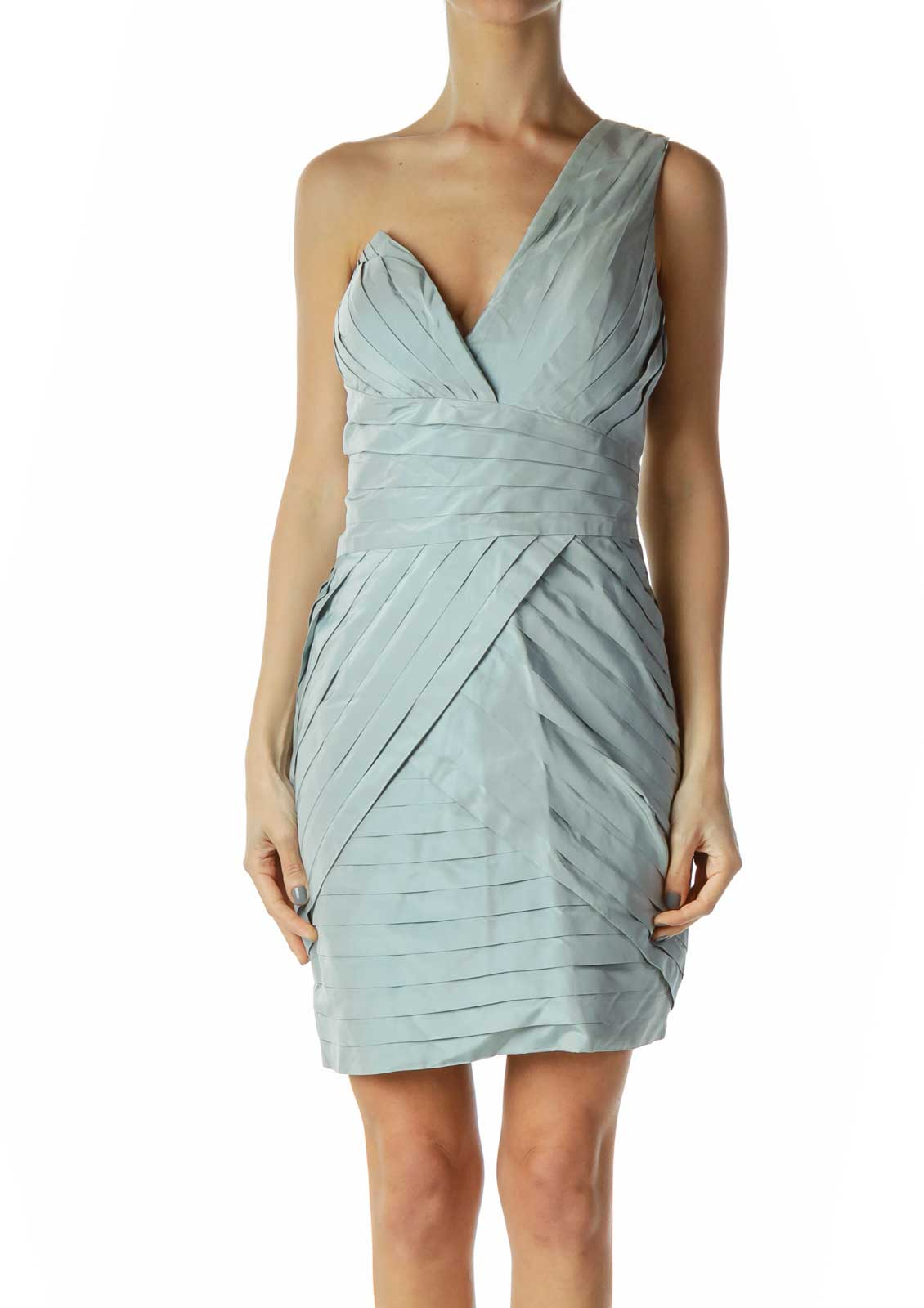 Blue One Shoulder Pleated Cocktail Dress Front