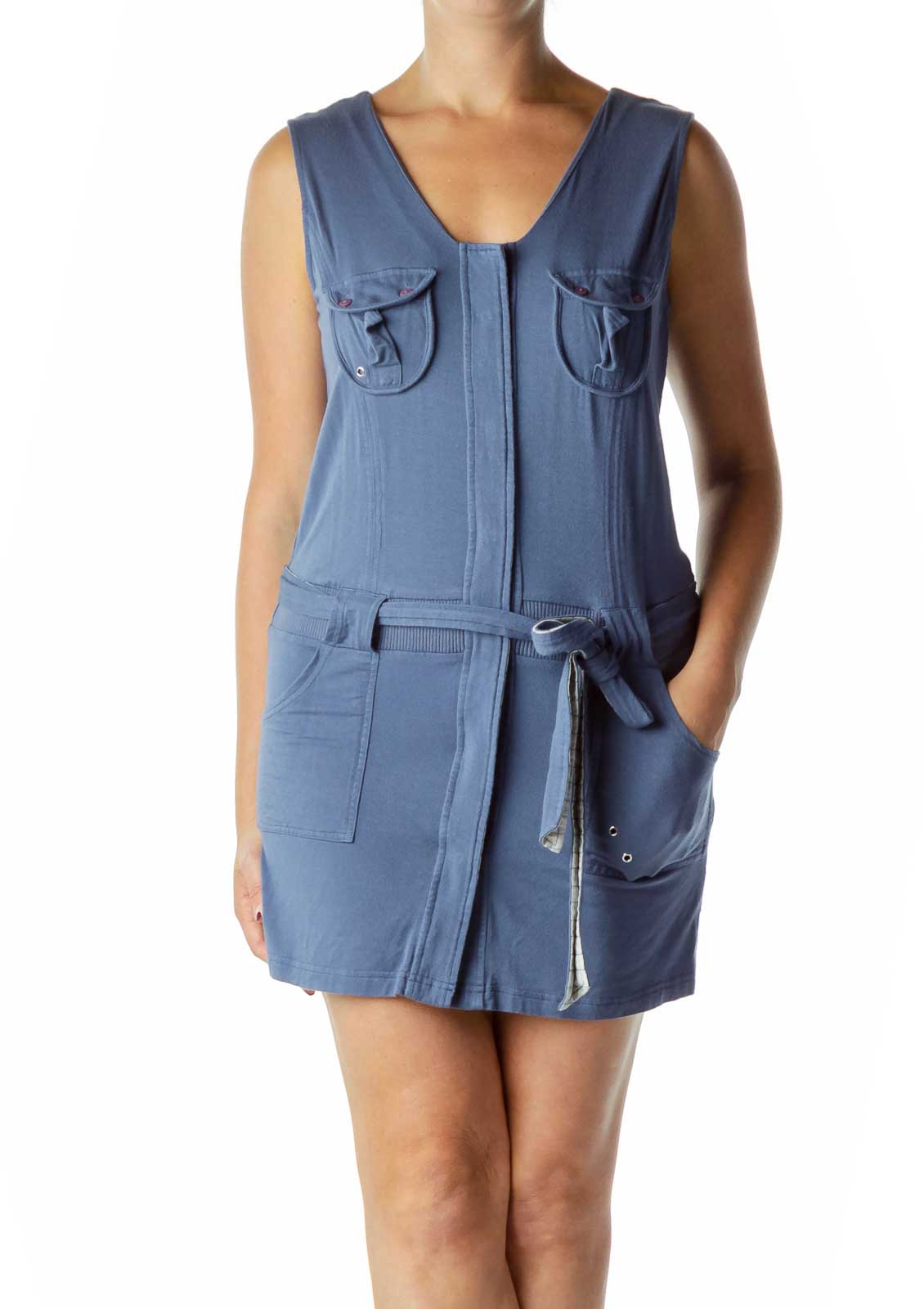 Blue Pocketed Jersey Dress Front