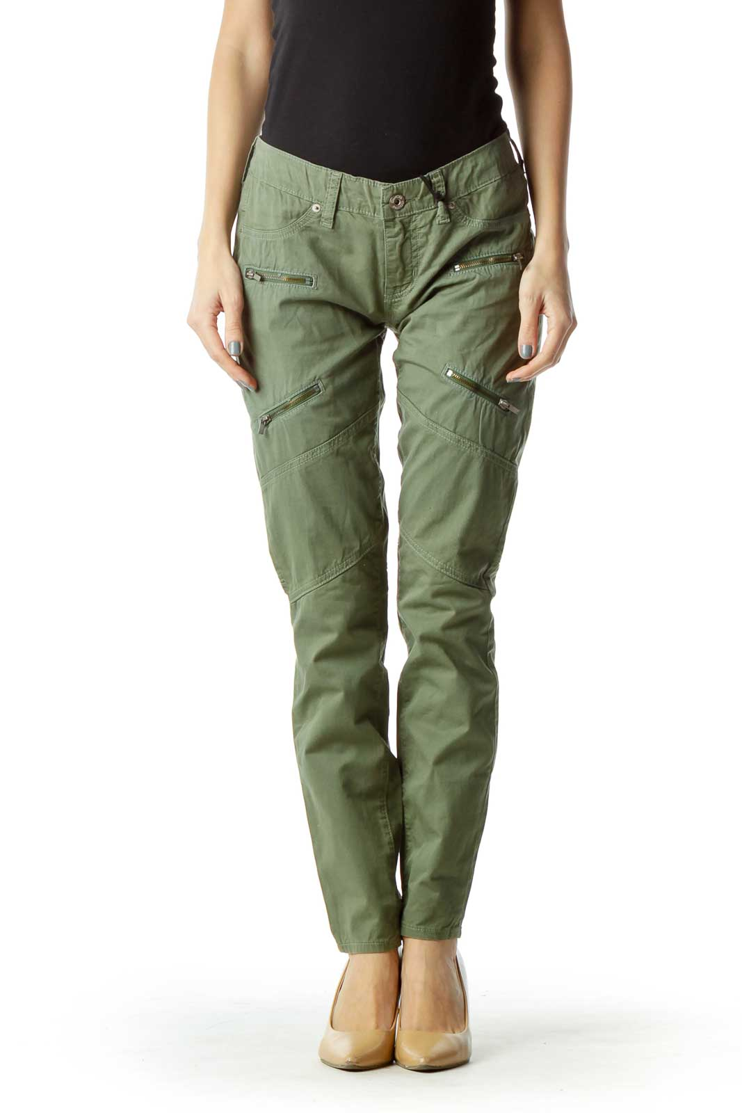 Green Skinny Cargo Pant with Zipper Detail Front