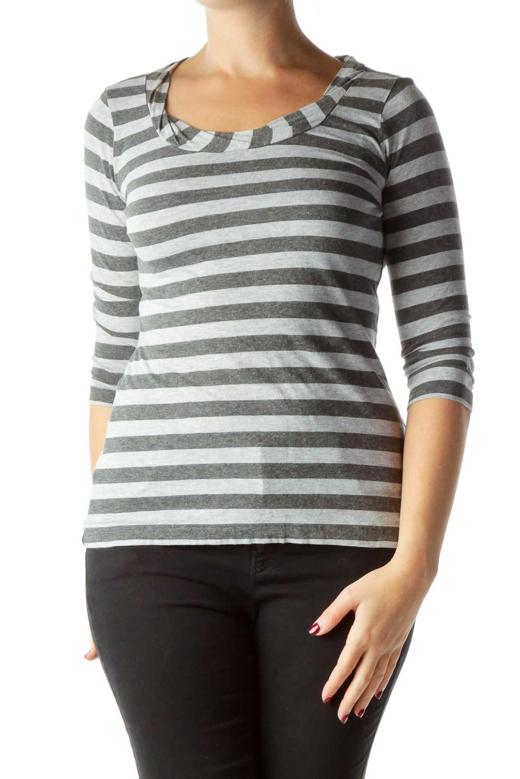Gray Tonal Stripe 3/4 Sleeve Top Front