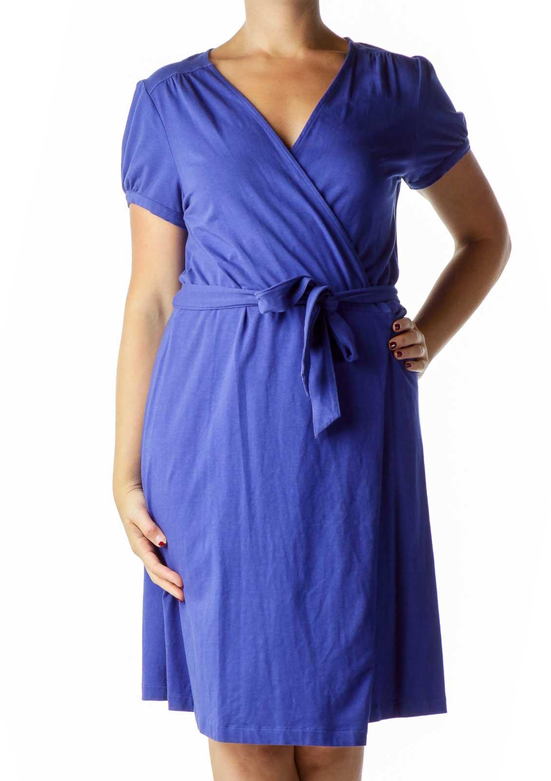 Blue Short Sleeve Wrap Dress Front