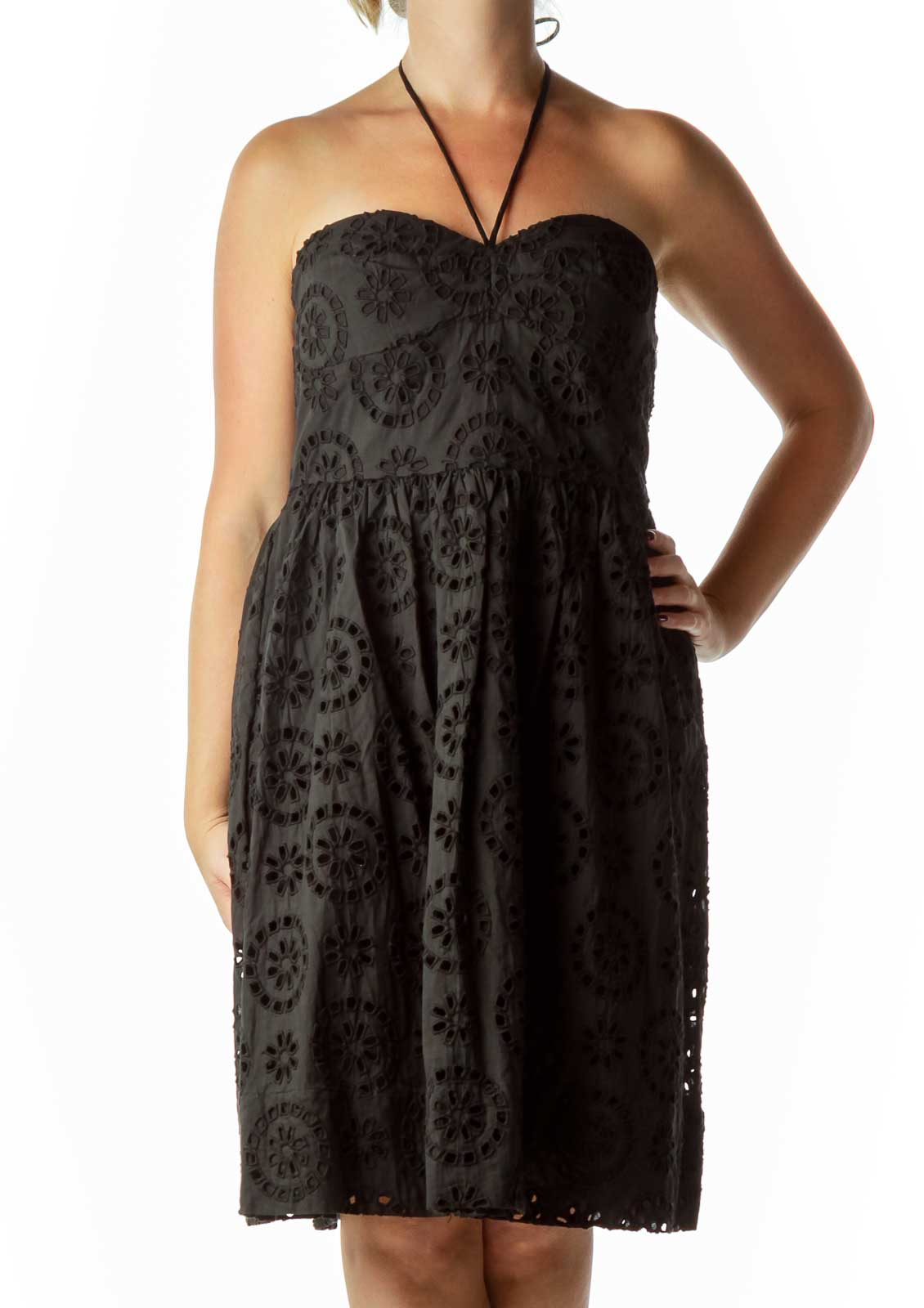 Black Eyelet Strapless Dress Front