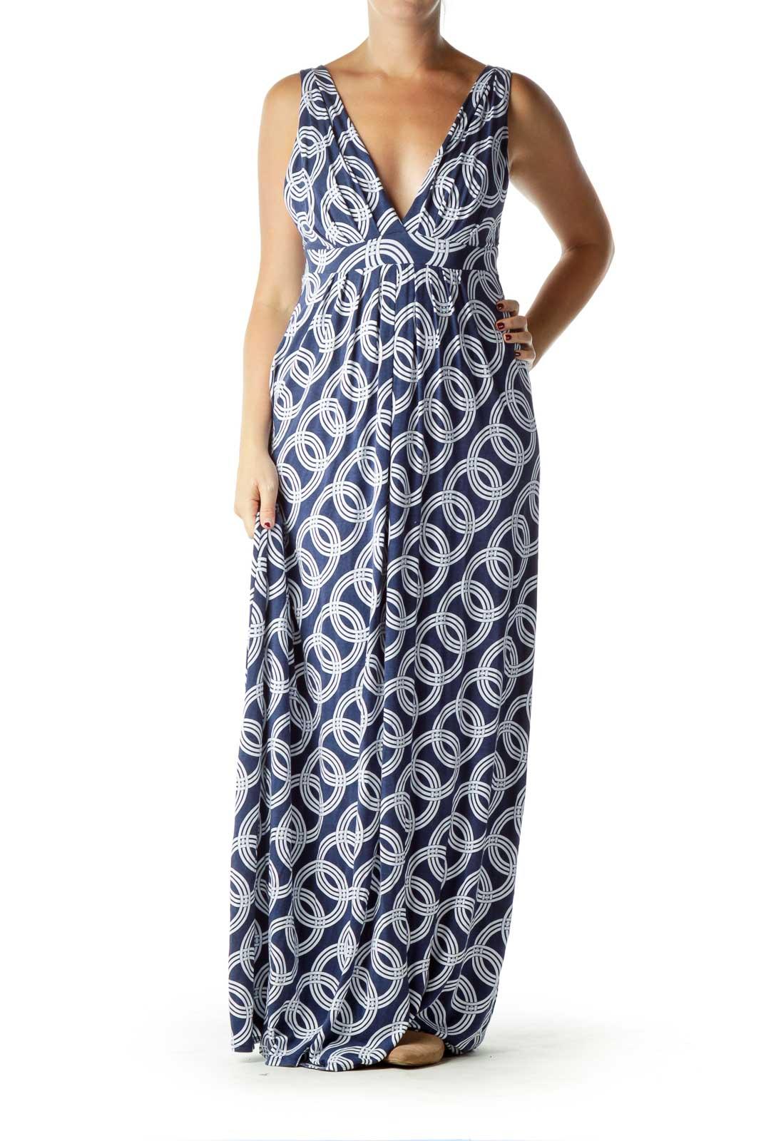 Blue Print Jersey Maxi Dress Front