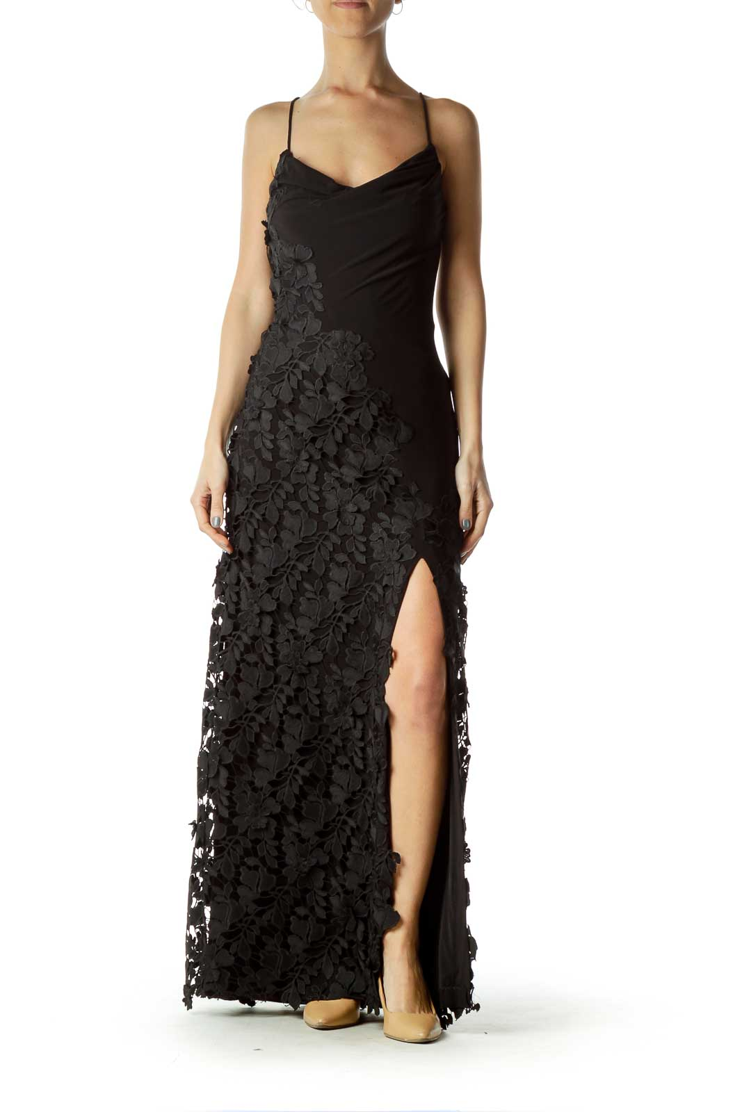 Black Crocheted Slit Evening Dress Front
