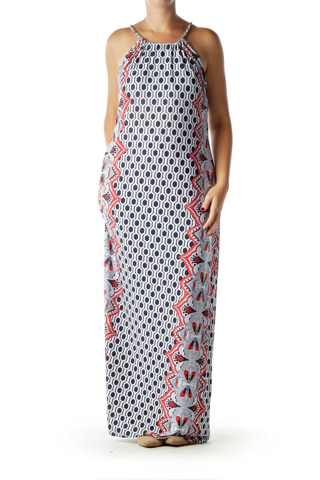 White Printed Maxi Dress with Chain Straps Front