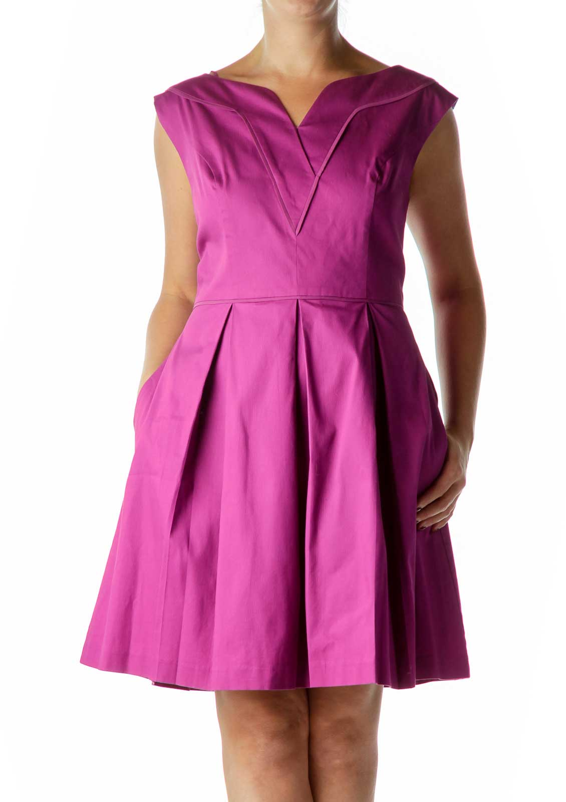Purple Sleeveless A-Line Dress Front