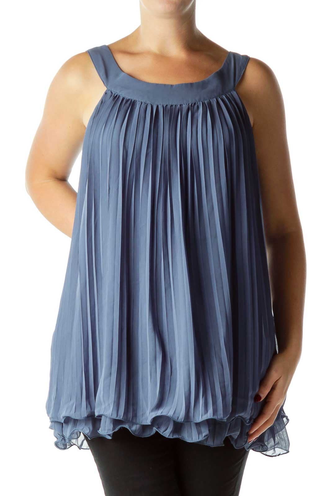 Blue Pleated Sleeveless Top Front