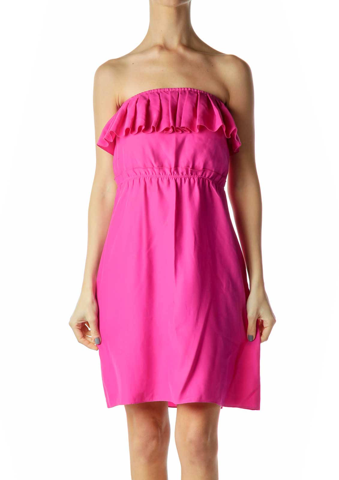 Pink Ruffled Strapless Cocktail Dres Front