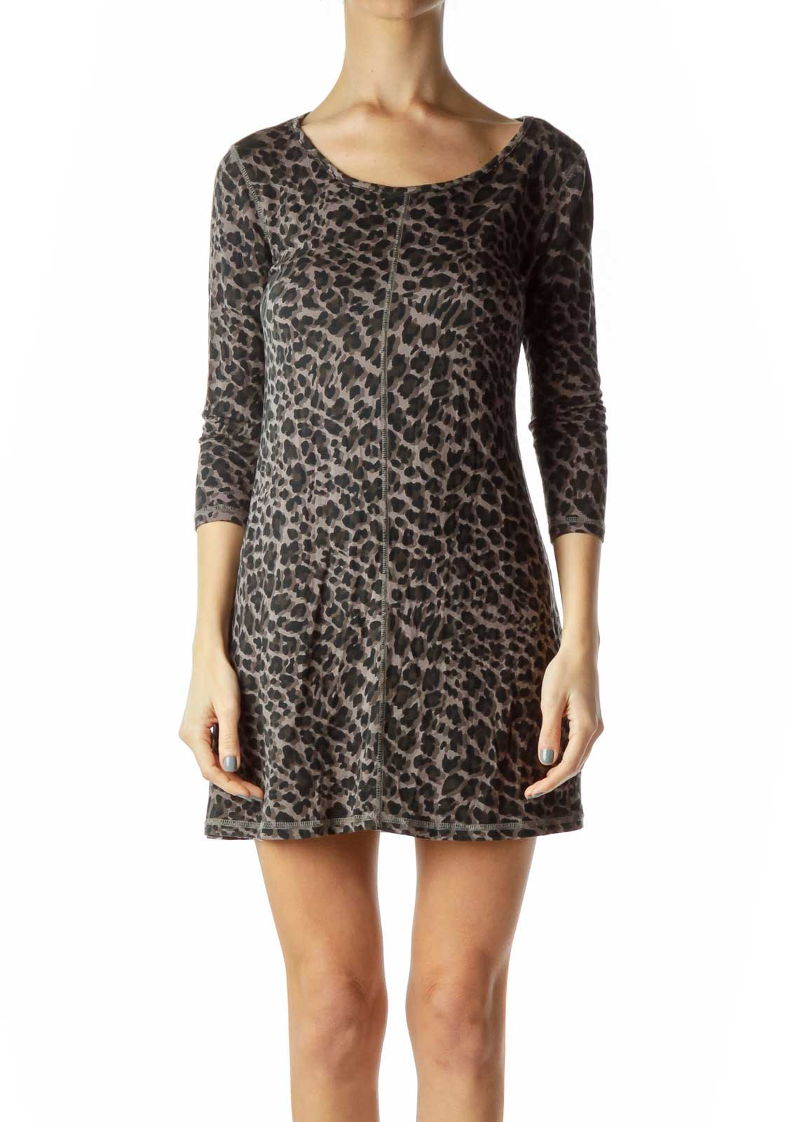 Black Brown Animal Print Jersey Dress Front