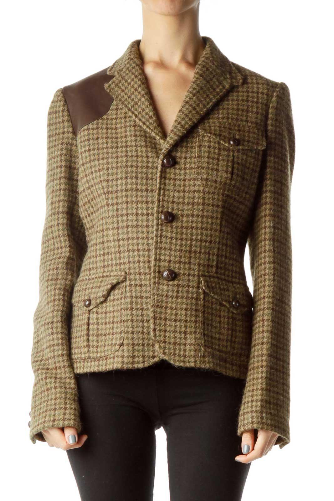 Brown Houndstooth Wool Jacket Front