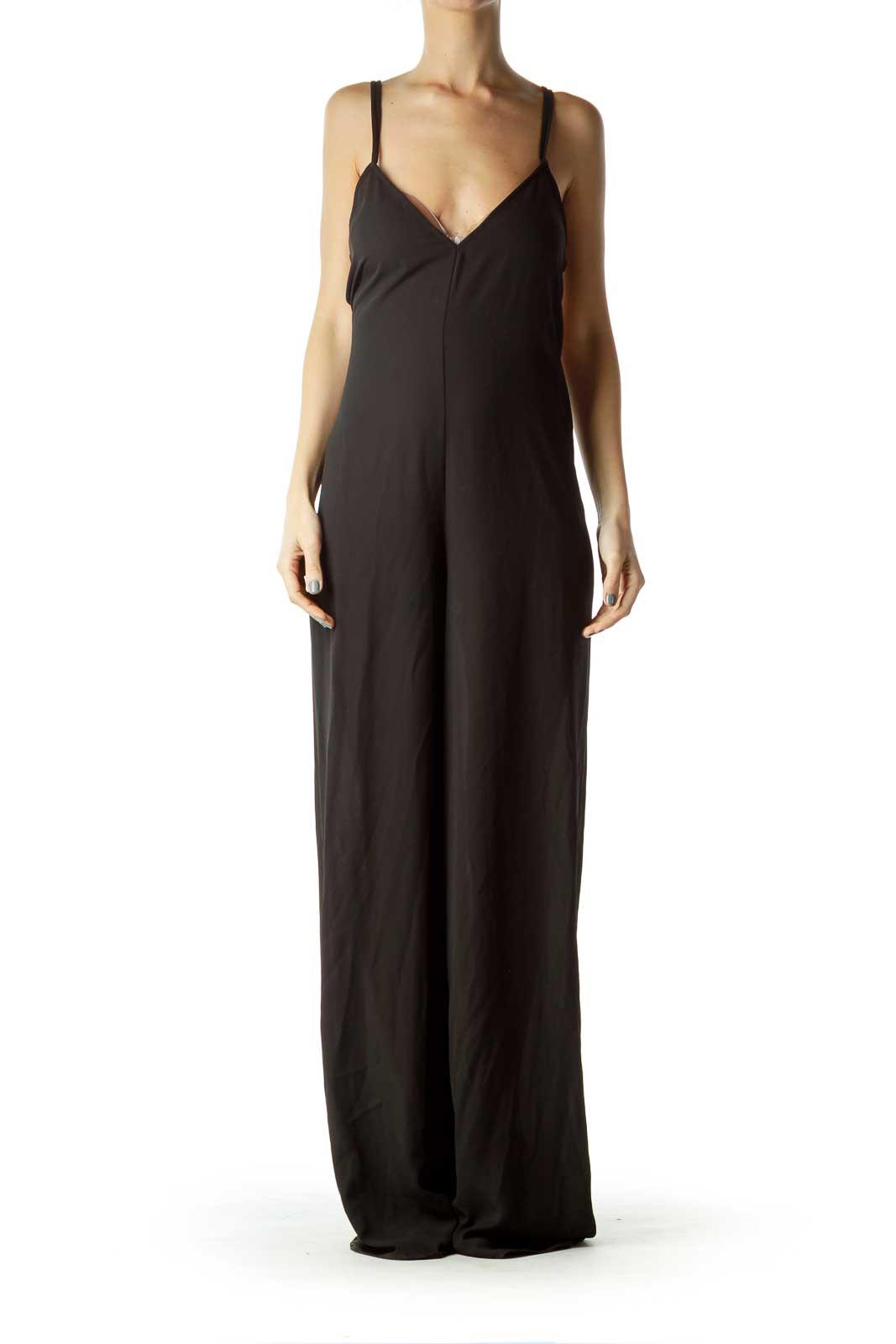 Black Drawstring Cut Jumpsuit Front