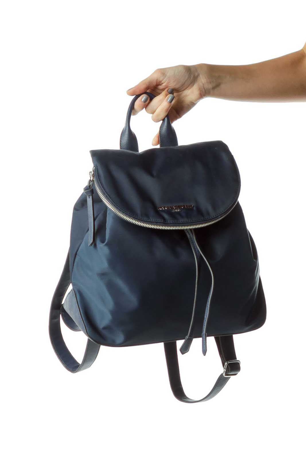 Blue Nylon Leather Trim City Backpack  Front