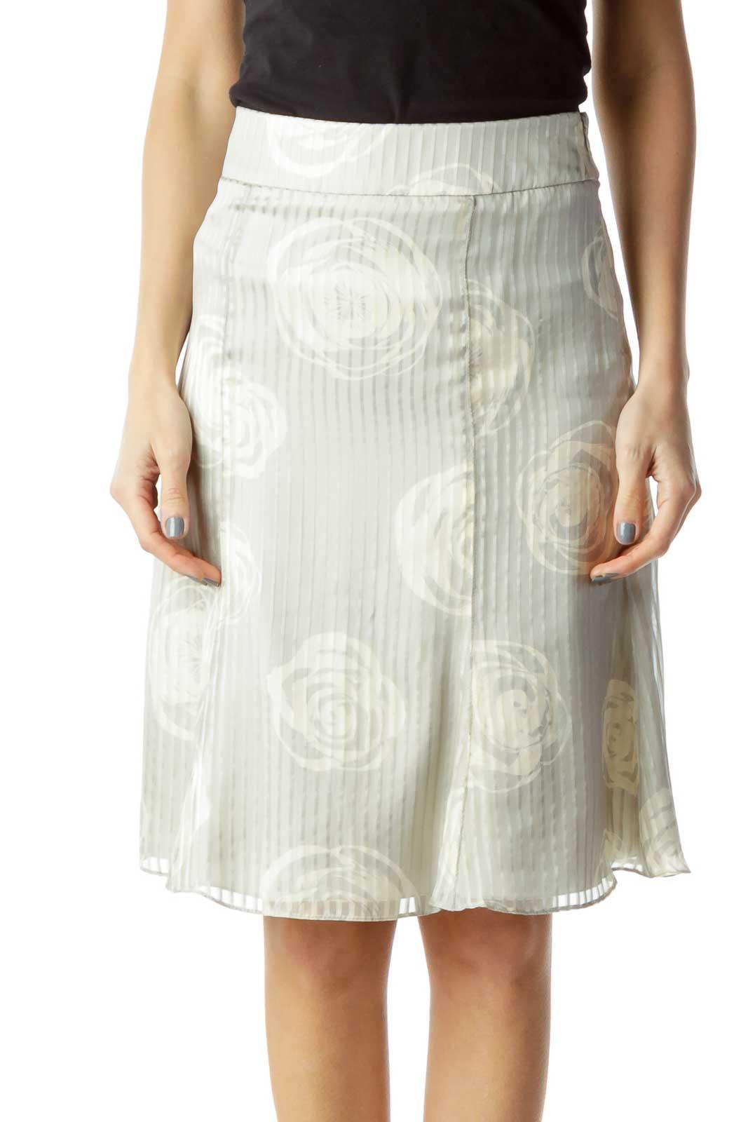 Gray Floral Stripe Print Silk Skirt Front