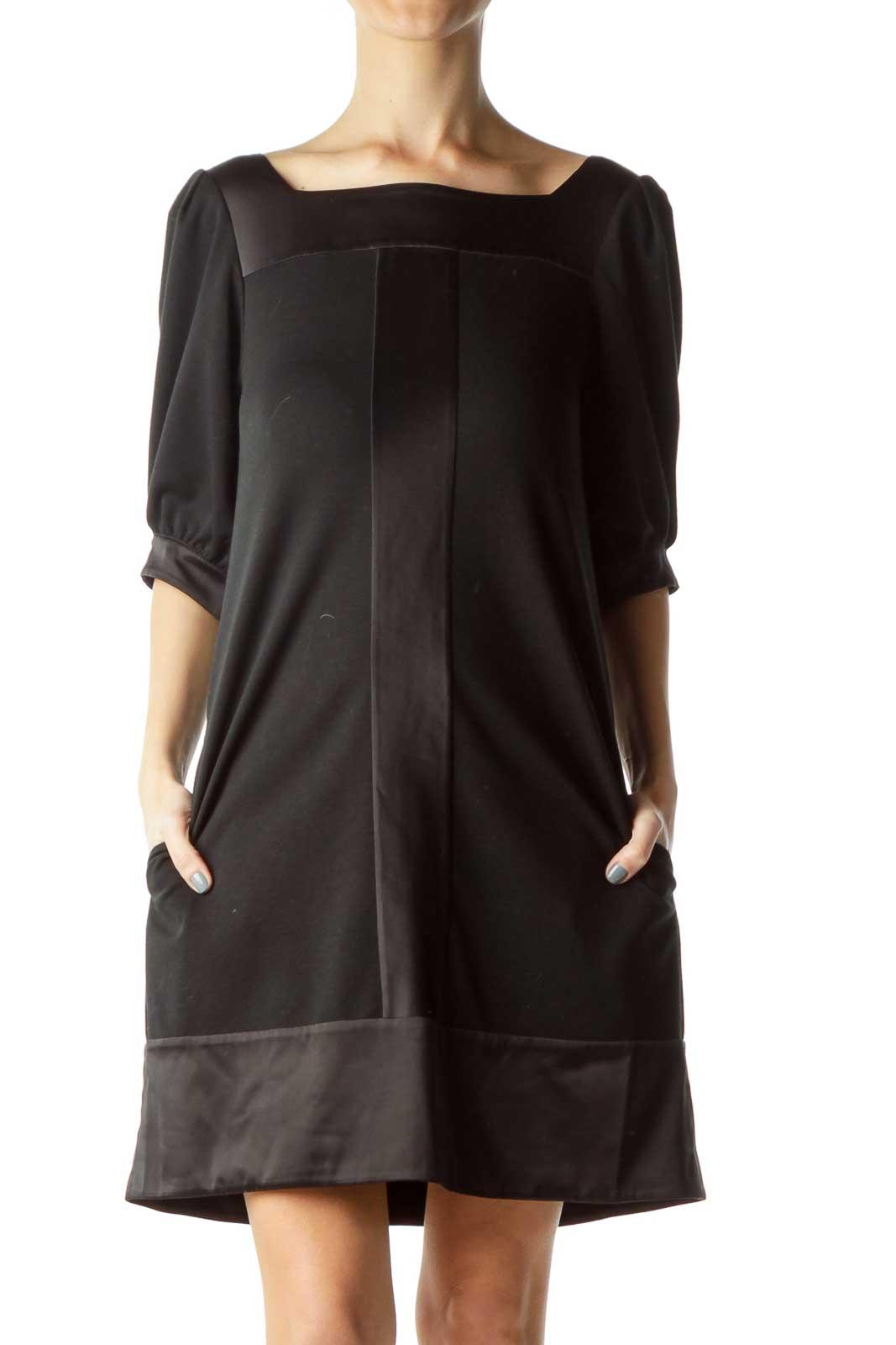 Black Satin Detailed Doll Dress Front
