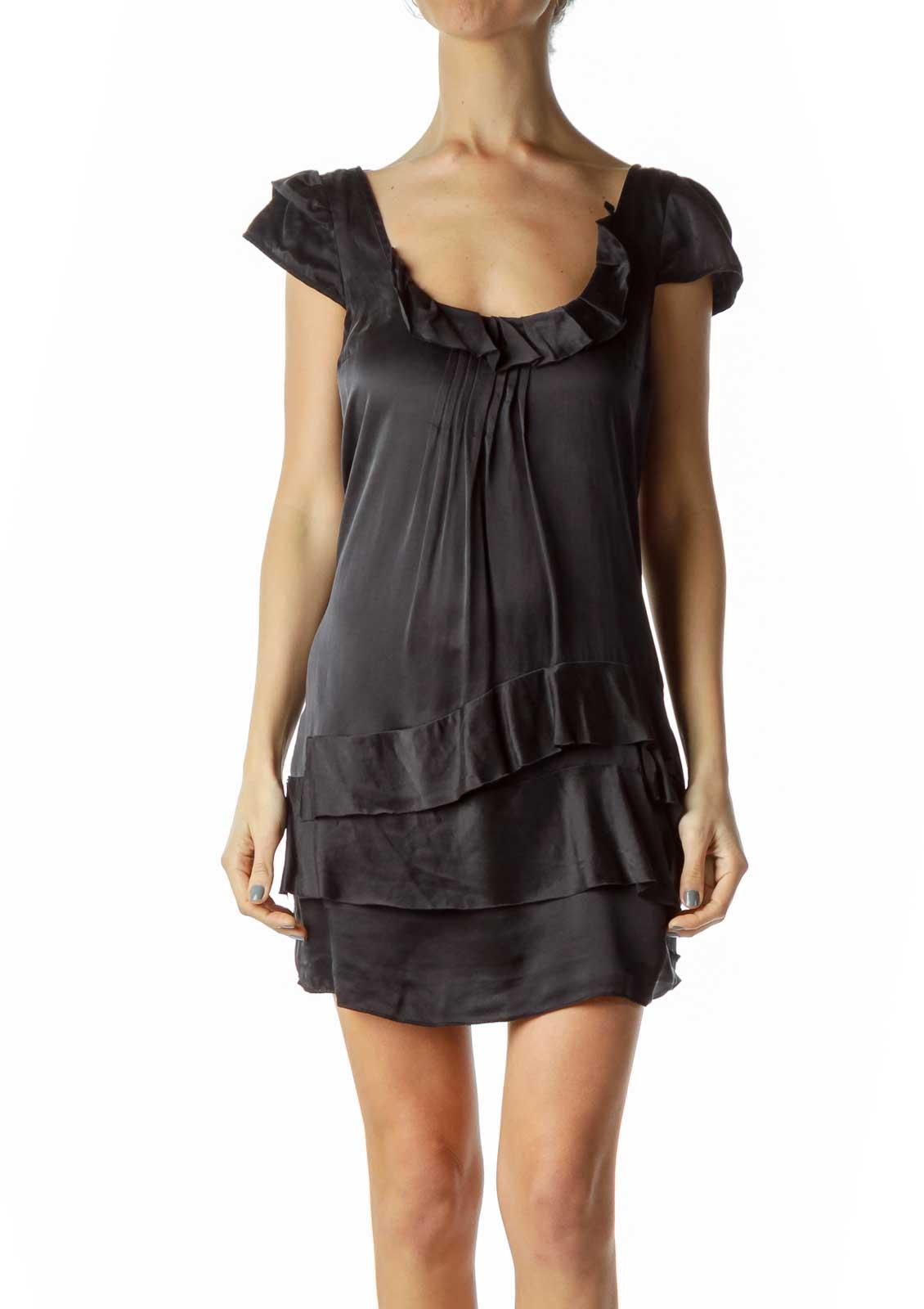 Black Silk Ruffle Pleated Shift Dress Front